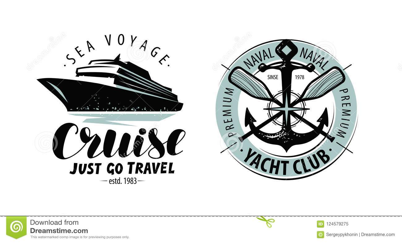 Cruzeiro, logotipo do yacht club ou etiqueta Conceito náutico Vetor da rotulação