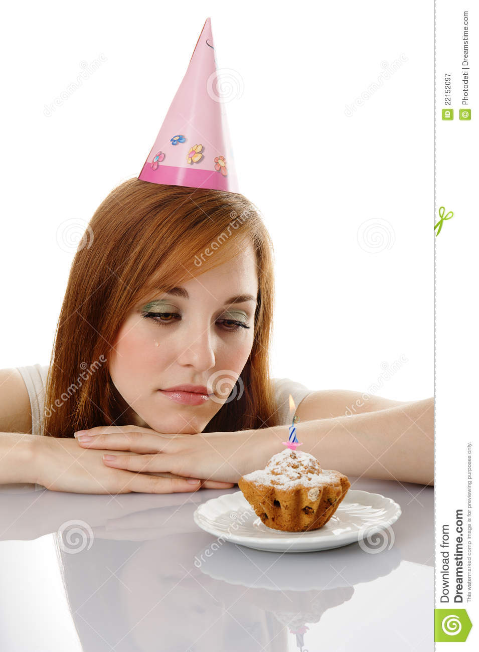 Cry Girl With Birthday Cake Royalty Free Stock Photography