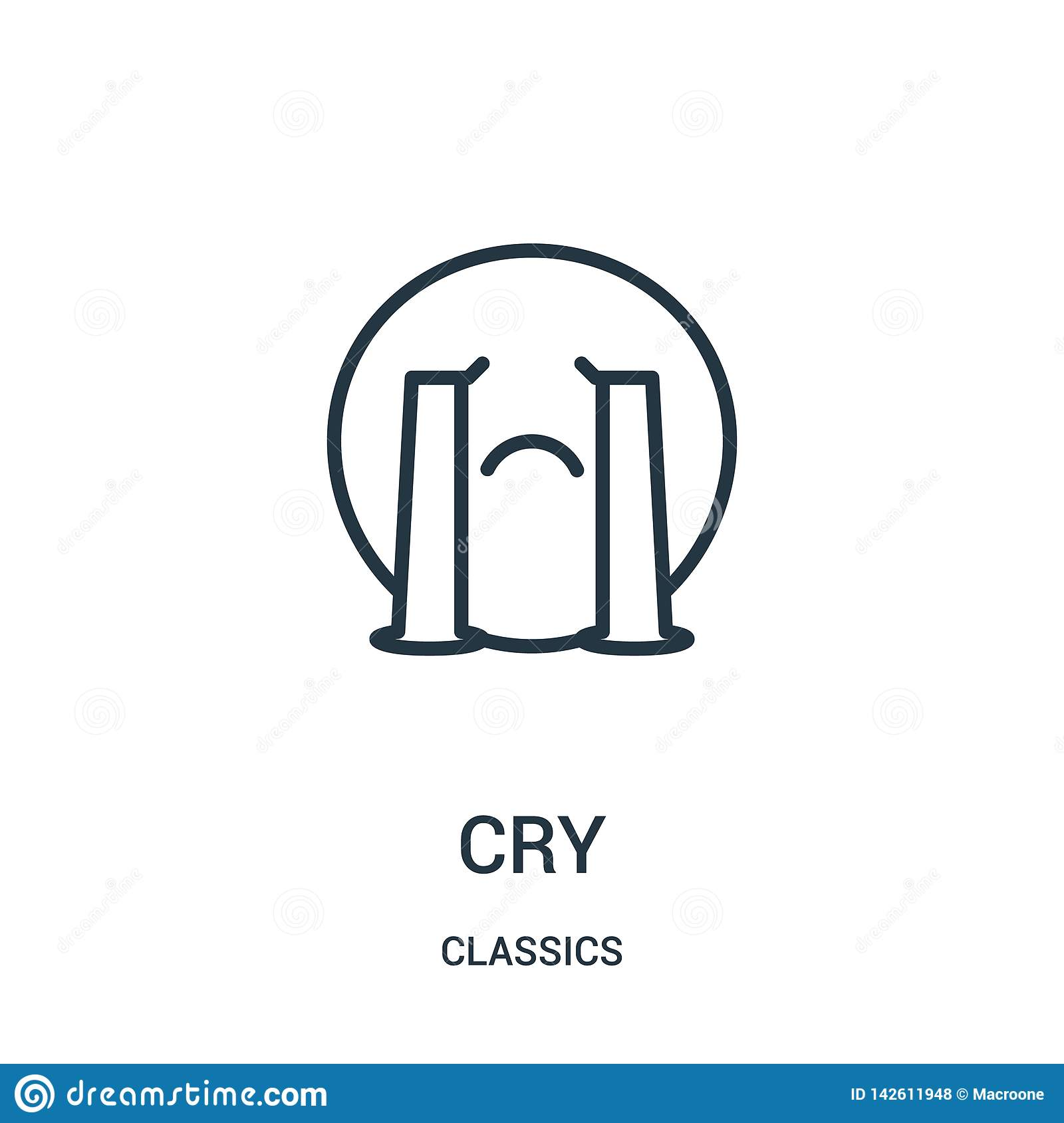 cry icon vector from classics collection. Thin line cry outline icon vector illustration. Linear symbol