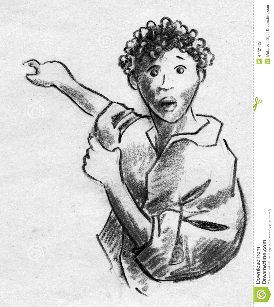 Hand drawn pencil sketch of a curly haired man crying in surprise and pointing at smth