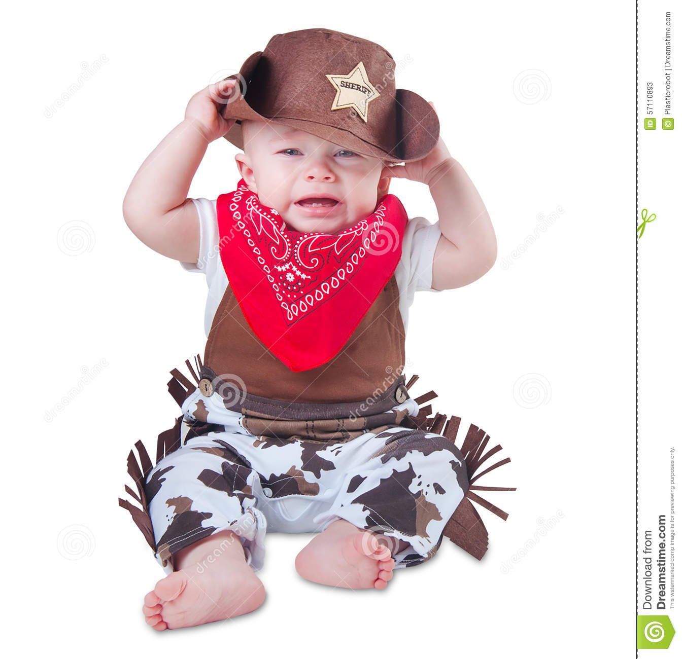 crying baby in cowboy outfit stock image image of funny
