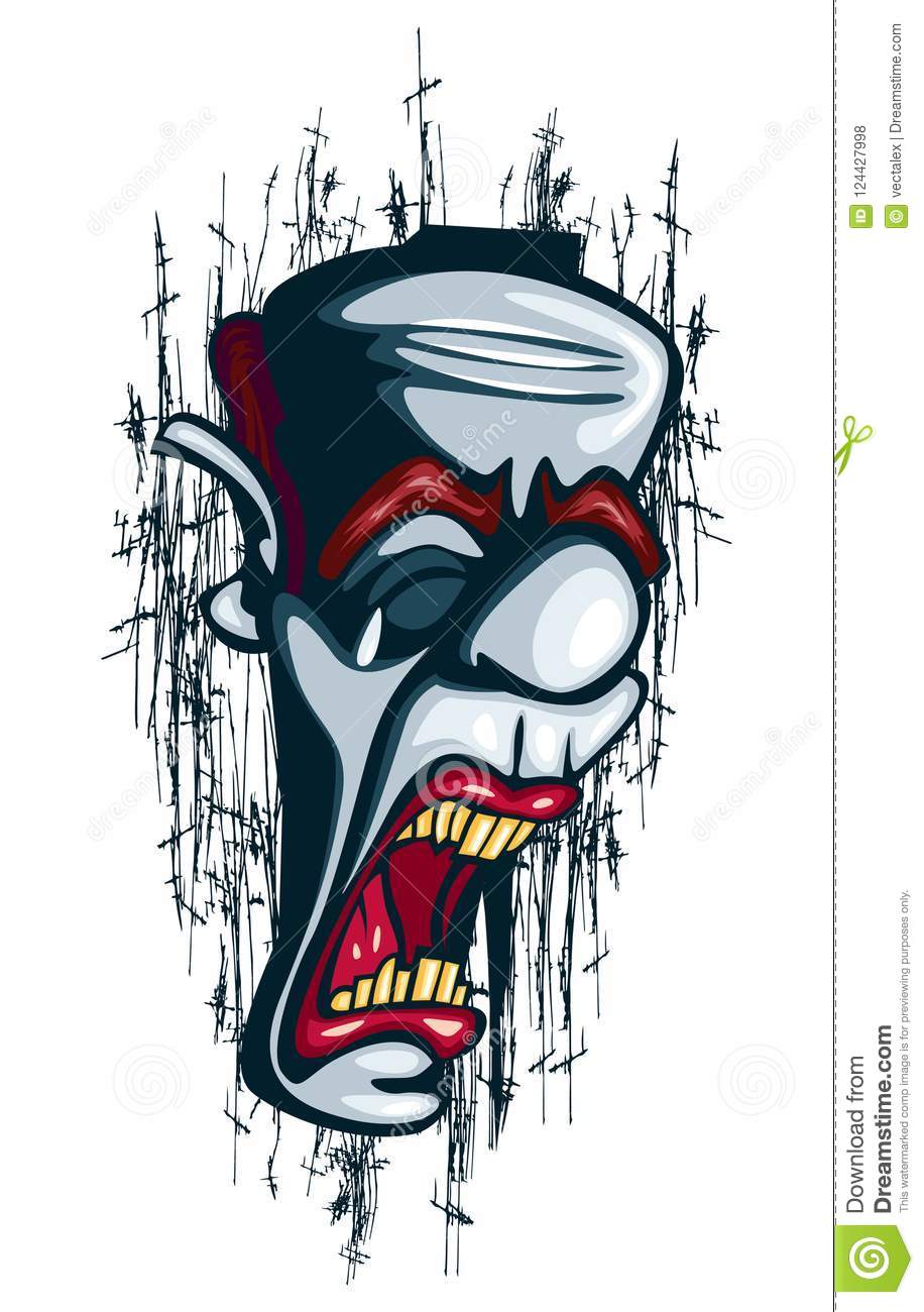 Crying Clown Tattoo Vector Circus Joker Unsuccessful Stock Vector