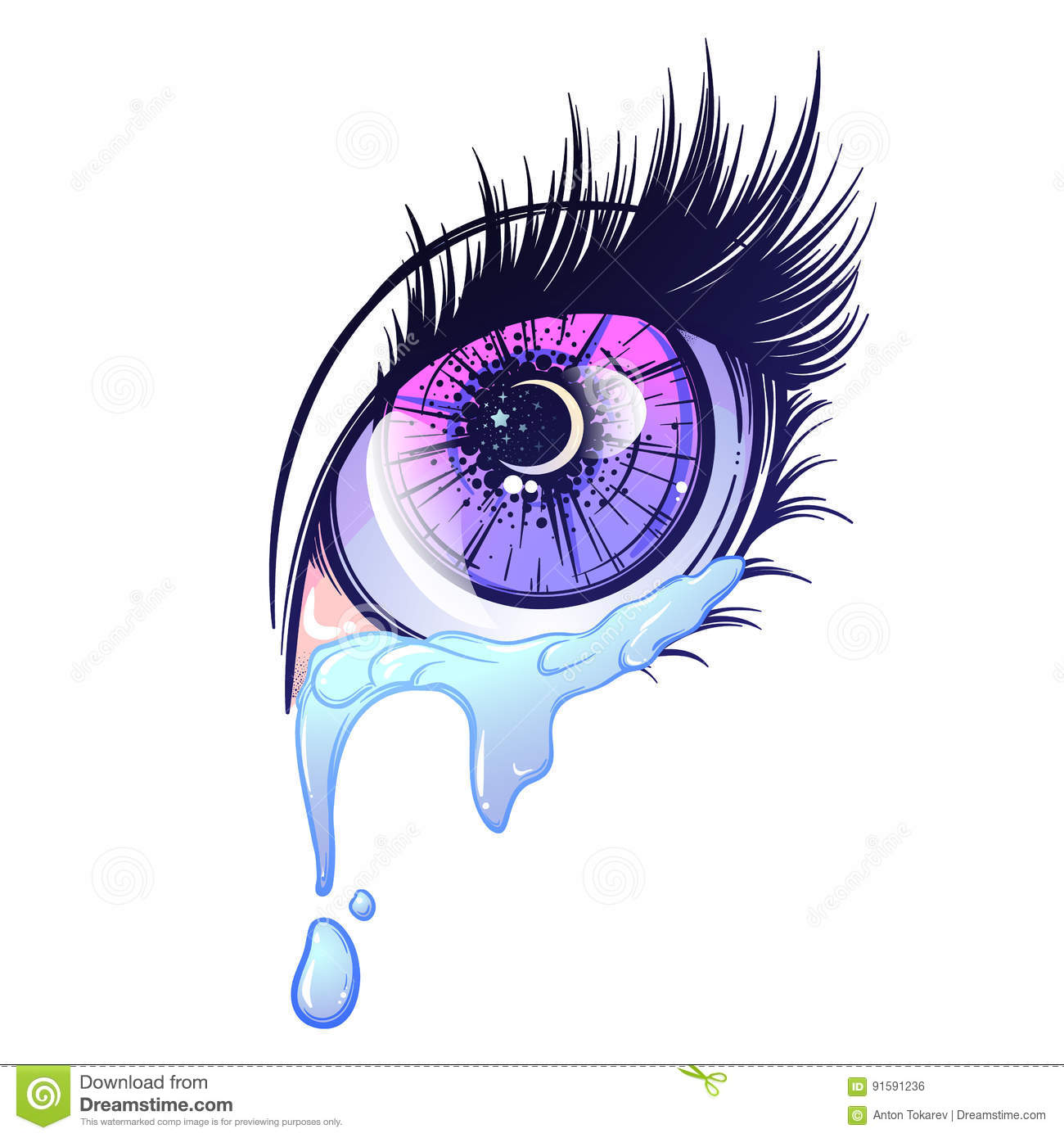 Crying eye in anime or manga style with teardrops and reflections highly detailed vector illustration