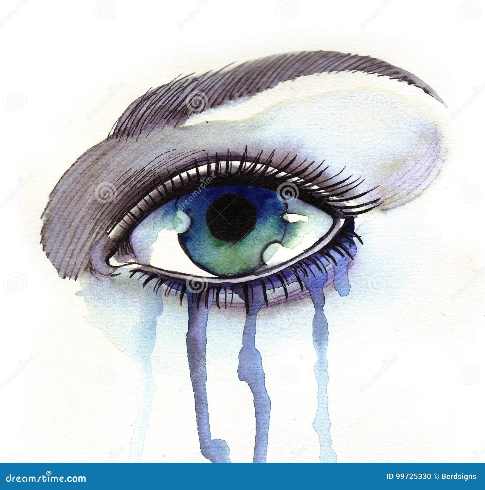Watercolor sketch of a beautiful crying eye