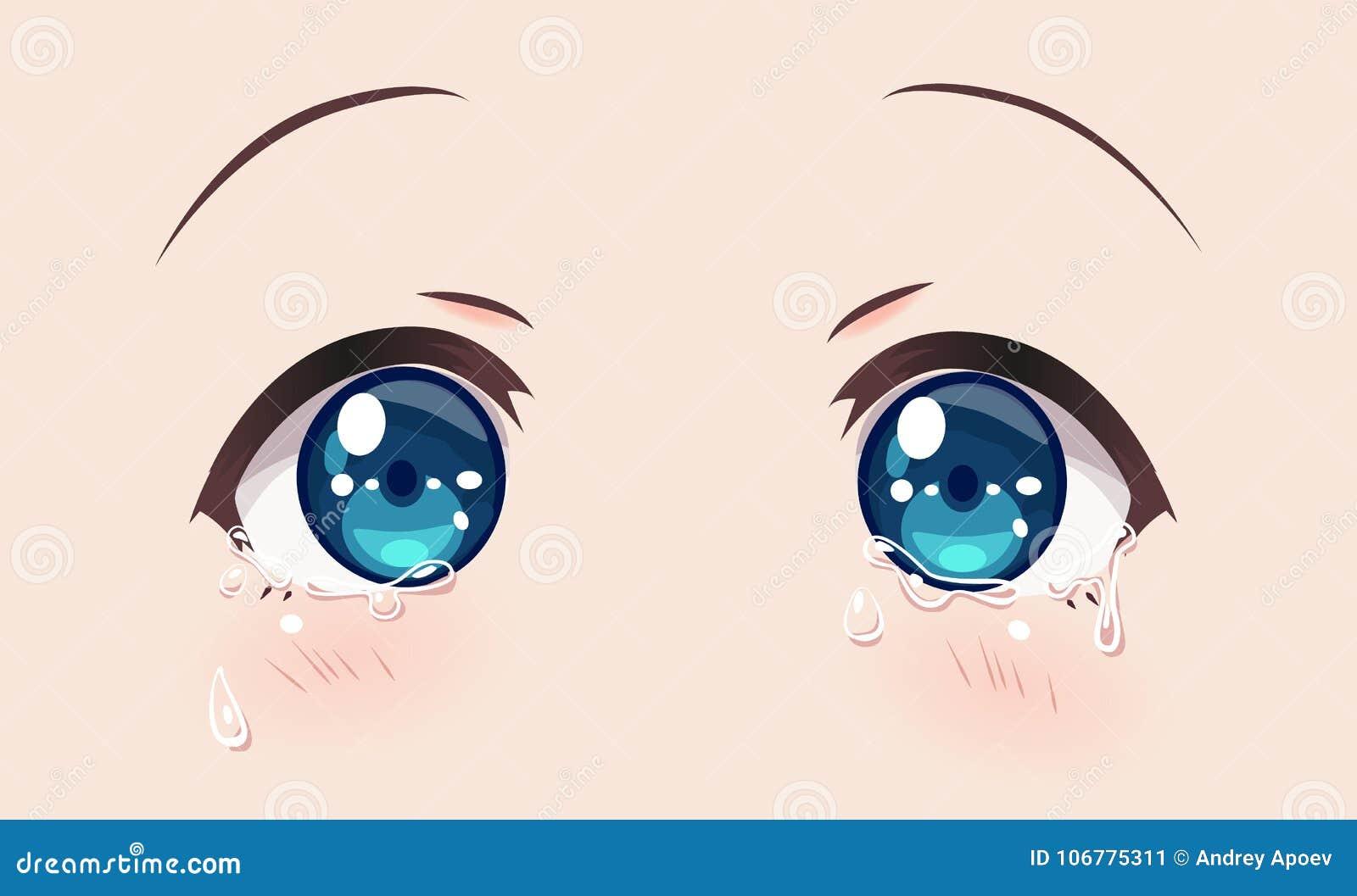 Crying Eyes, Anime Manga Girls Stock Vector - Illustration of