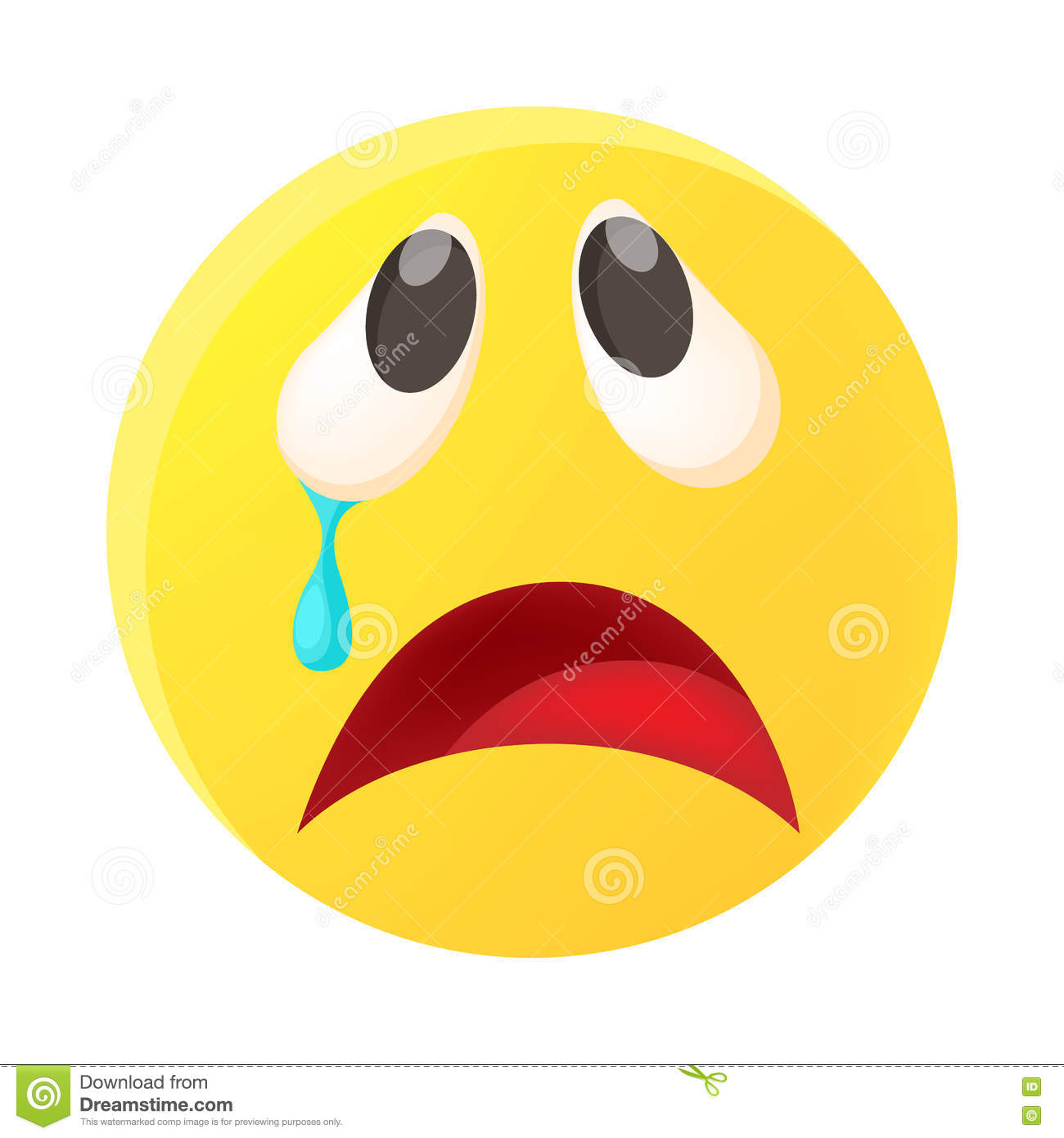 Crying Face Emoticon With Tear Icon, Cartoon Style Stock
