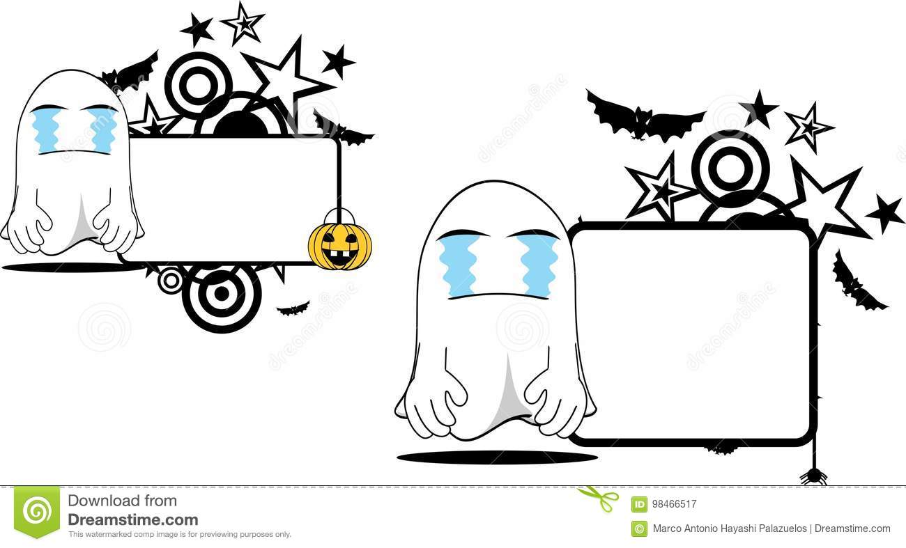 Crying ghost cartoon expression halloween copyspace set