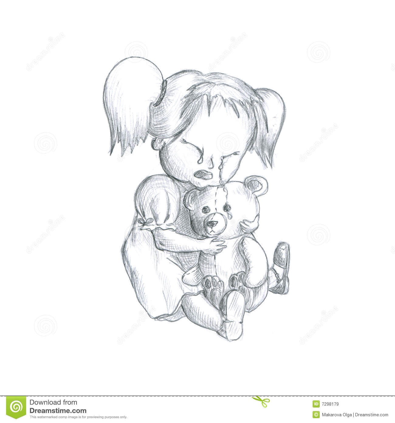 Crying Girl With Teddy bear Royalty Free Stock Images Image 7298179