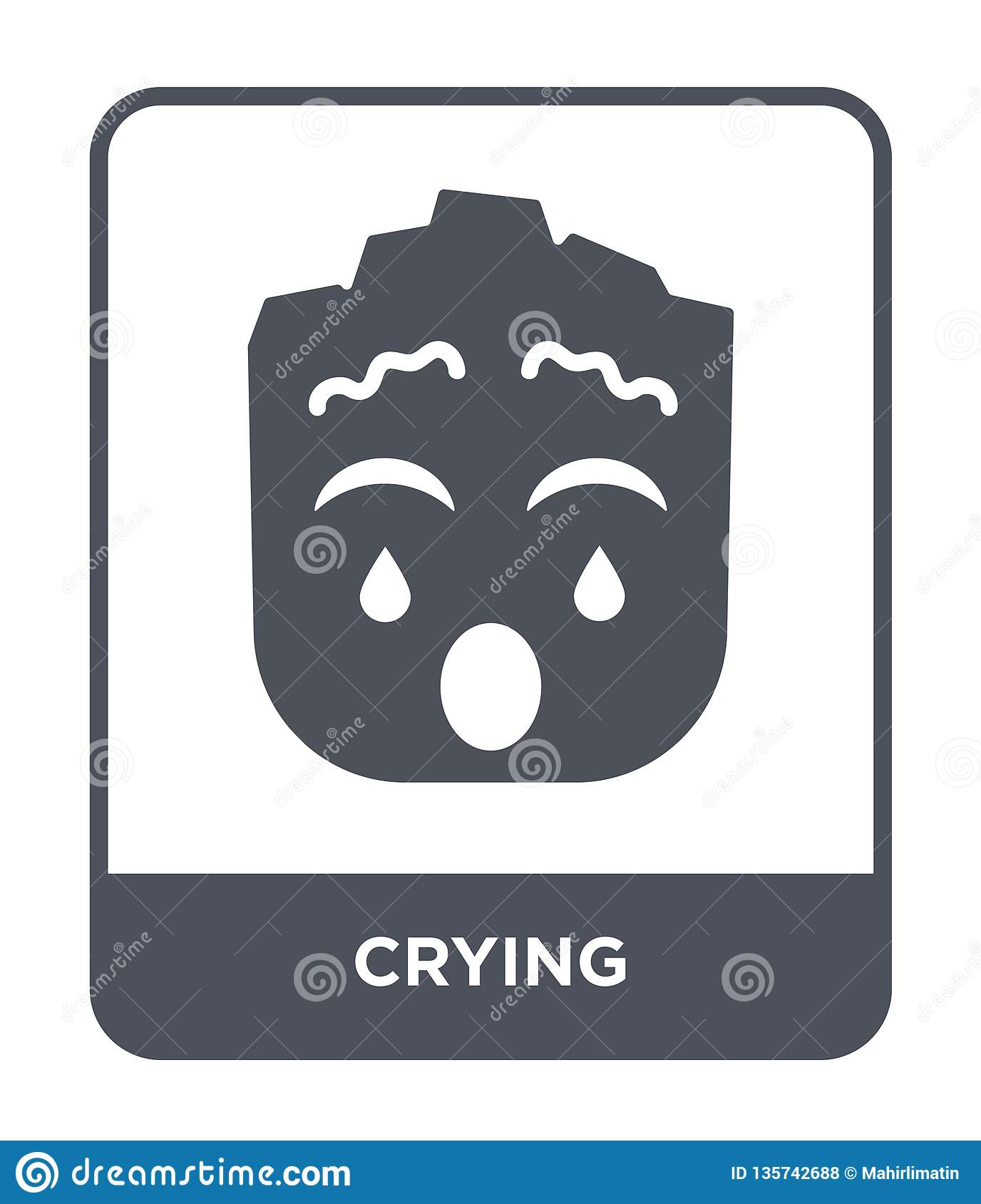crying icon in trendy design style. crying icon isolated on white background. crying vector icon simple and modern flat symbol for