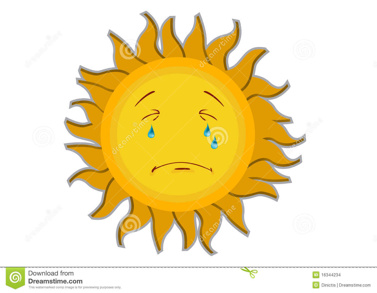 Crying Sun Cartoon Character Stock Images - Image: 16344234