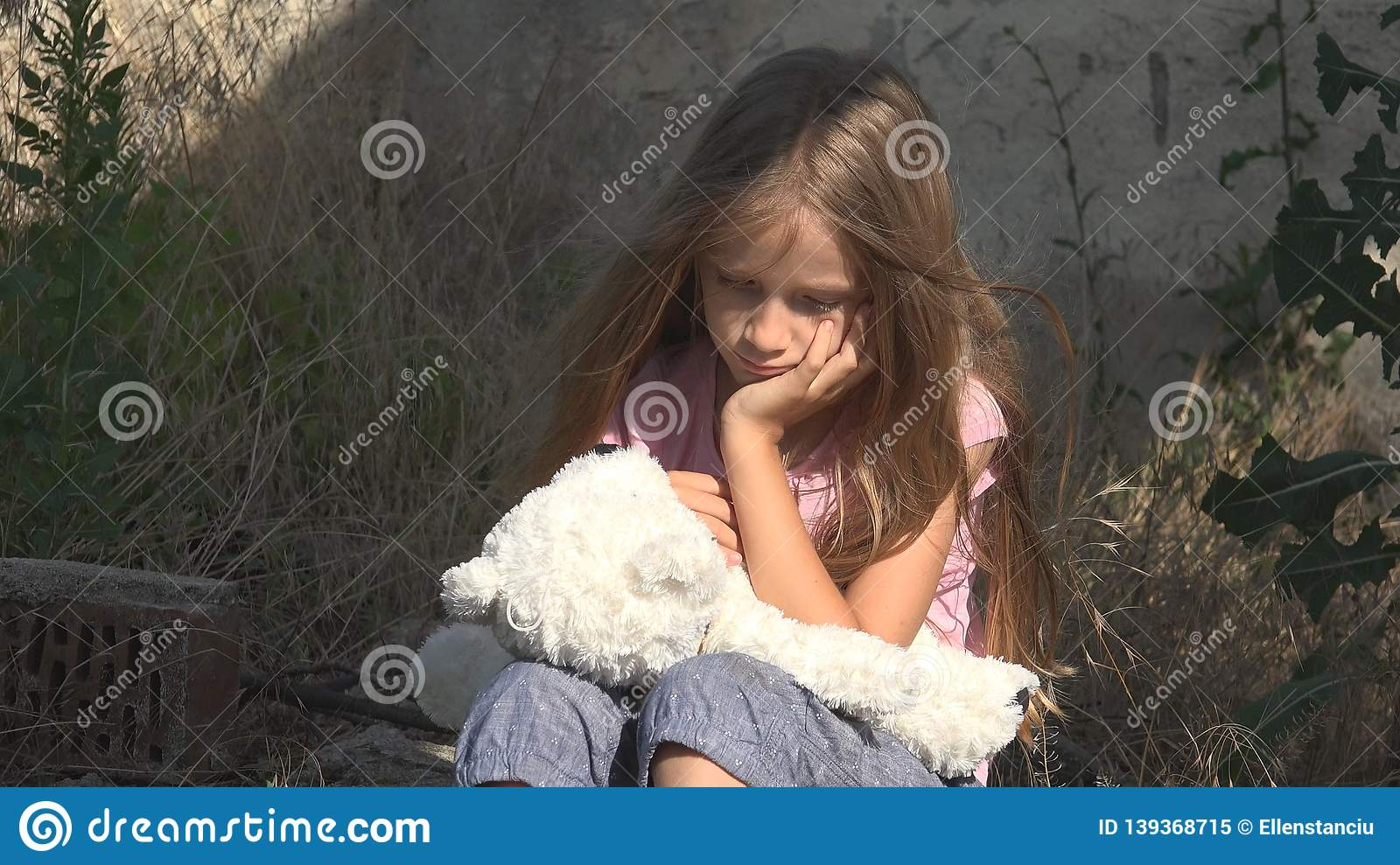 Crying Unhappy Child With Sad Memories, Stray Homeless Kid ...