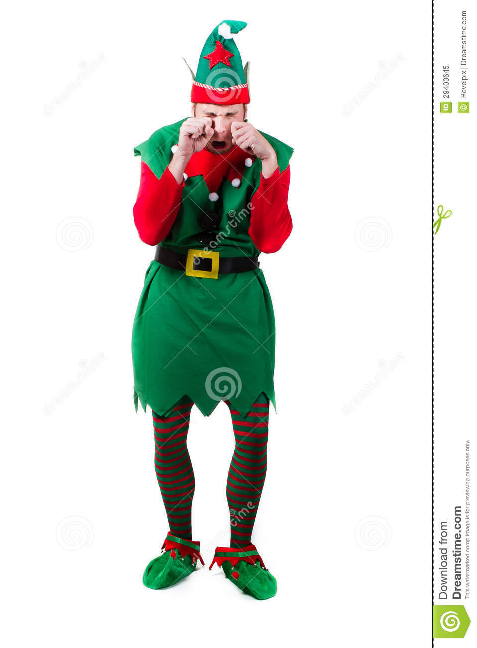 full body shot of a male elf rubbing his eyes crying and upset. shot ...