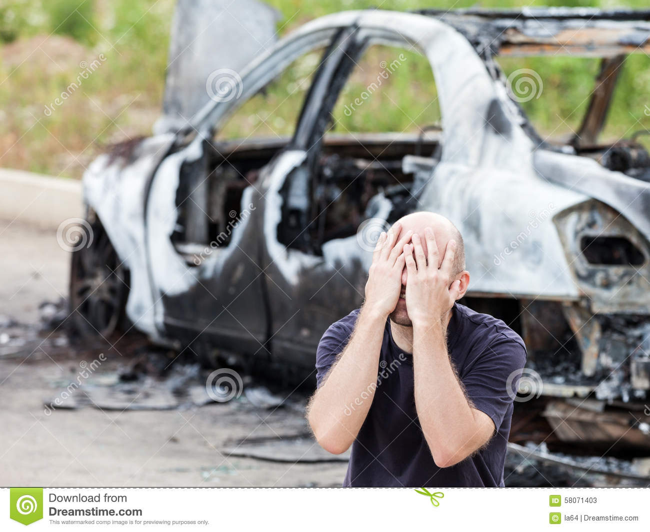 Crying Upset Man At Arson Fire Burnt Car Vehicle Junk Stock Image - Image Of Destroyed -6828