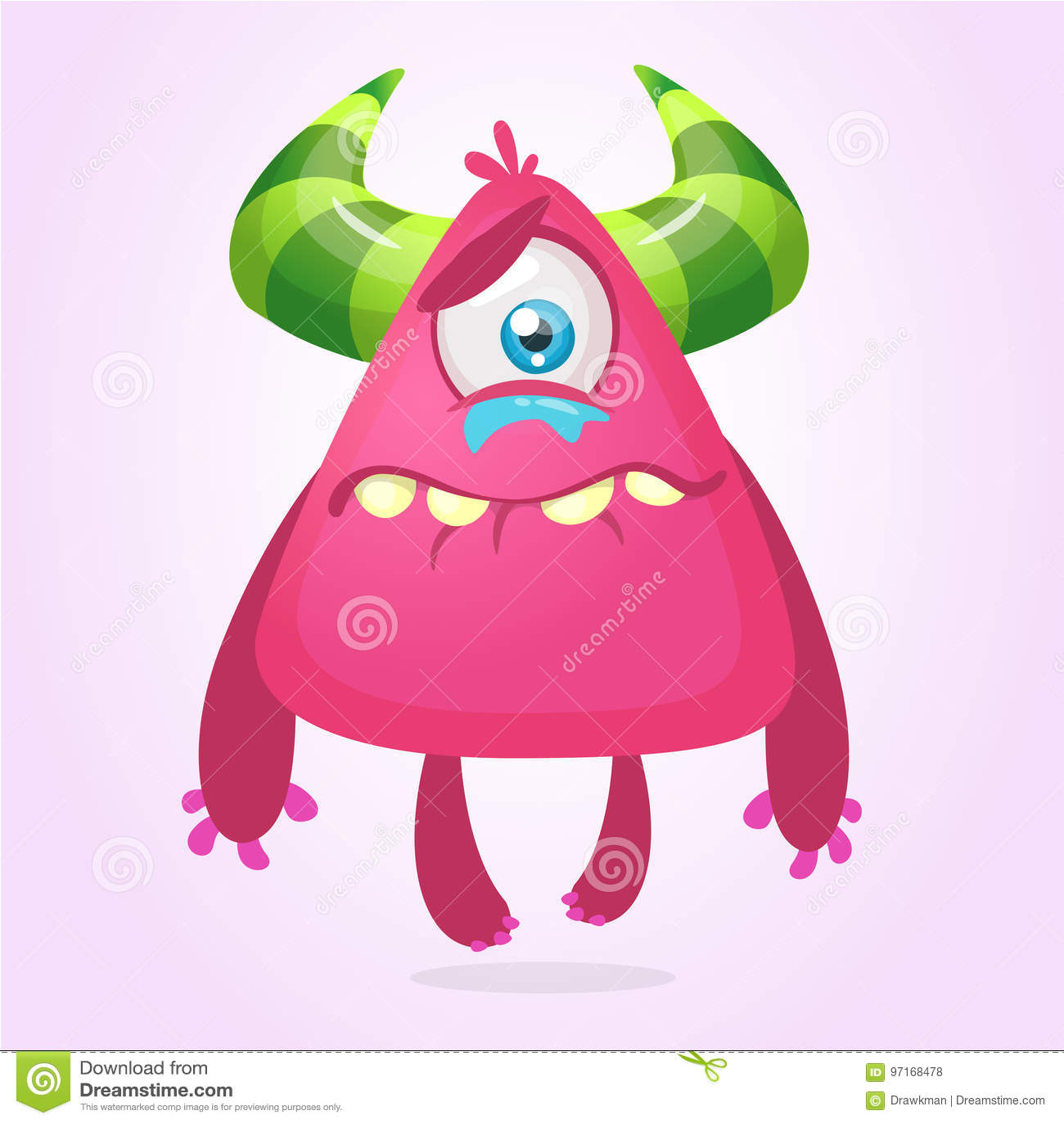Crying upset monster cartoon. Pink monster character mascot. Vector illustration for Halloween.