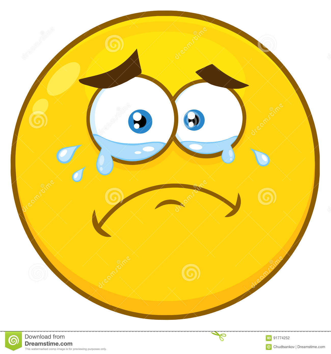 crying yellow cartoon smiley face character with tears