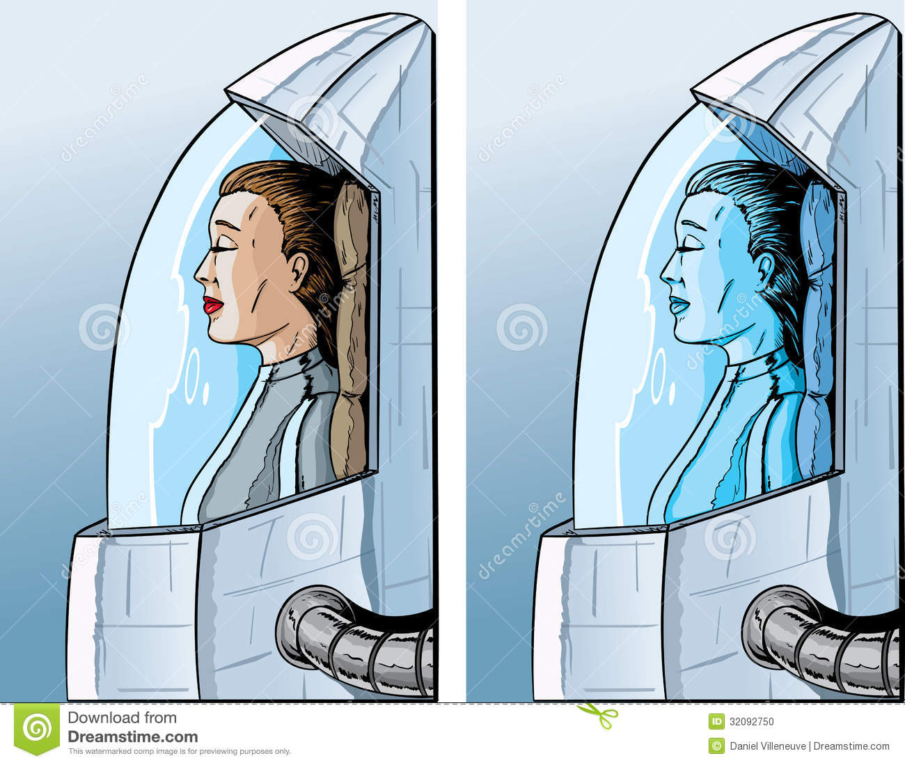 Sleeping Pods Cryogenic Girl Stock Photo Image 32092750