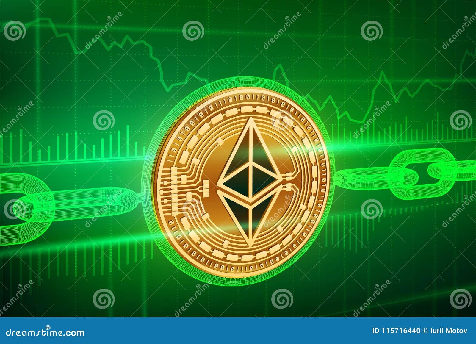 Crypto νόμισμα Αλυσίδα φραγμών Ethereum τρισδιάστατο isometric φυσικό χρυσό νόμισμα Ethereum με την αλυσίδα wireframe Έννοια Bloc