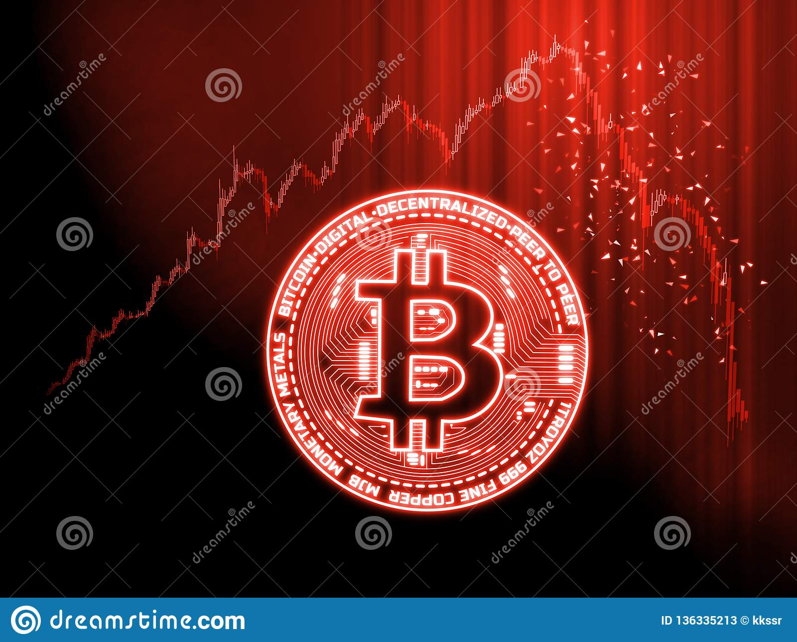 Crypto currencies market goes down concept. Glowing Bitcoin BTC on red candle stick charts with extreme price drop background