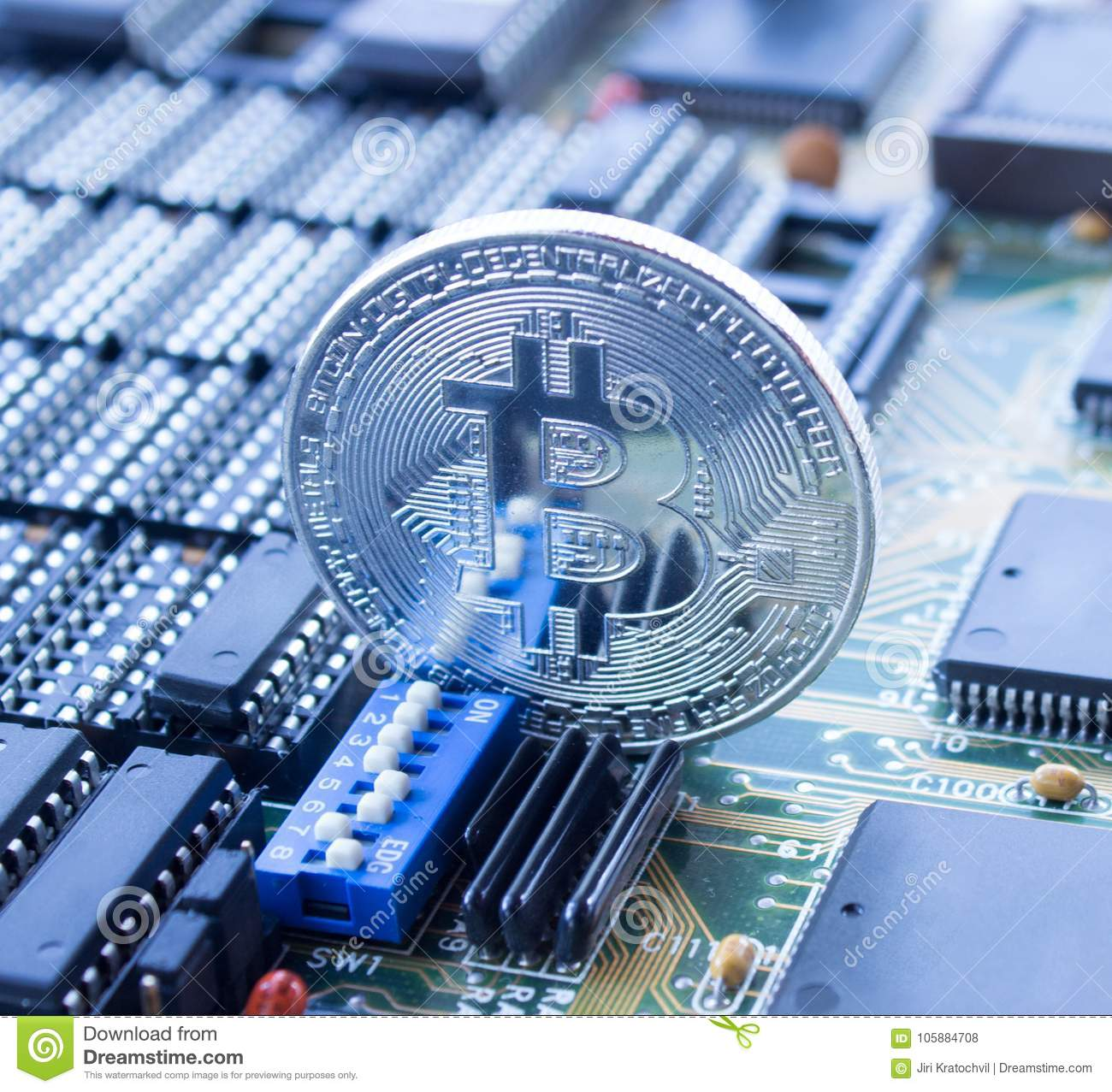 Crypto Currency Bitcoin On Printed Circuit Board Stock Photo Image Pcb The Printedcircuitboard 3d Royalty Free Photography