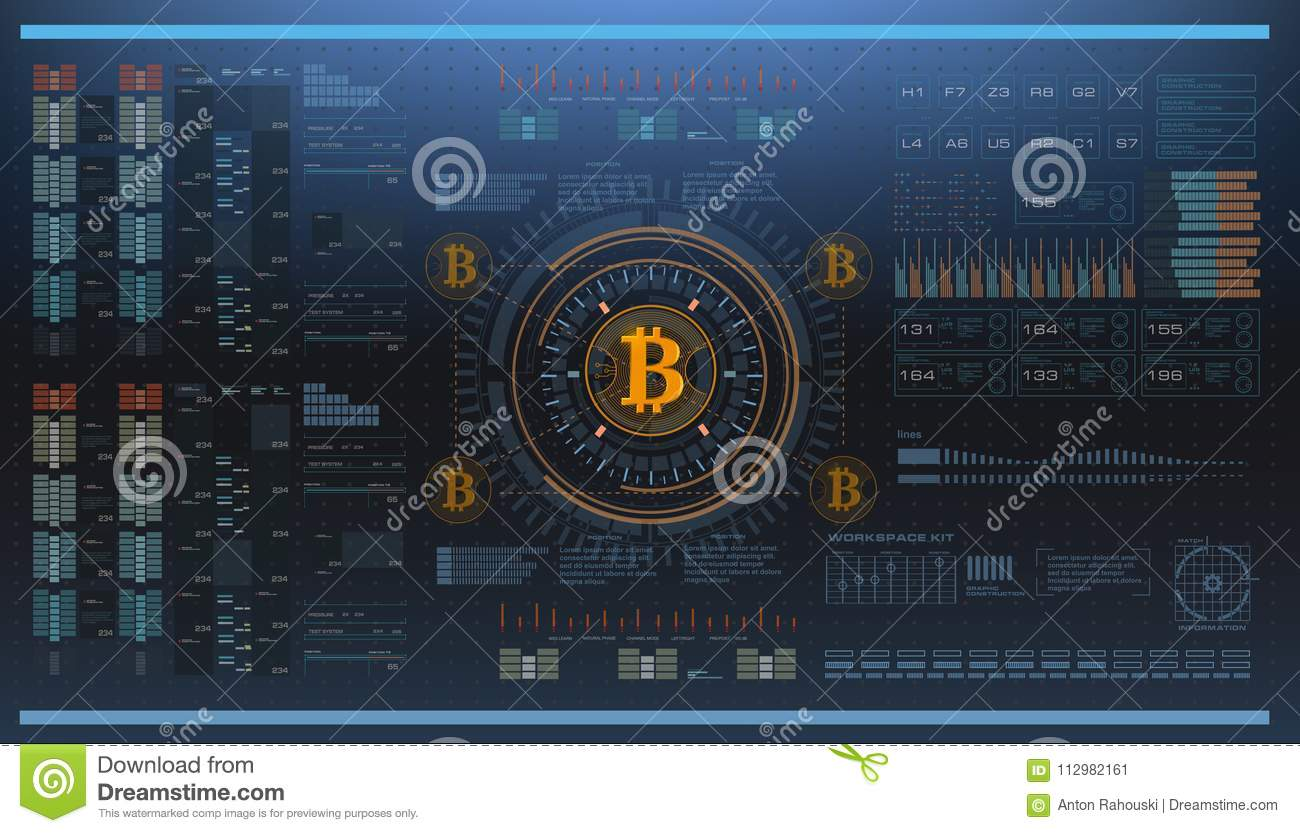 Crypto-currency, bitcoin technology, abstract visualization futuristic bitcoin , aesthetic design hud bitcoin background