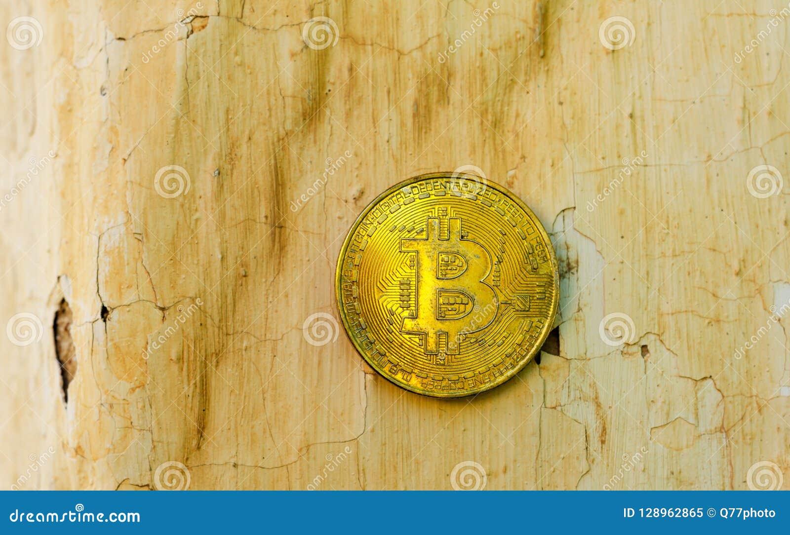 Crypto Currency Gold Bitcoin, BTC, Macro Shot Of Bitcoin Coins O