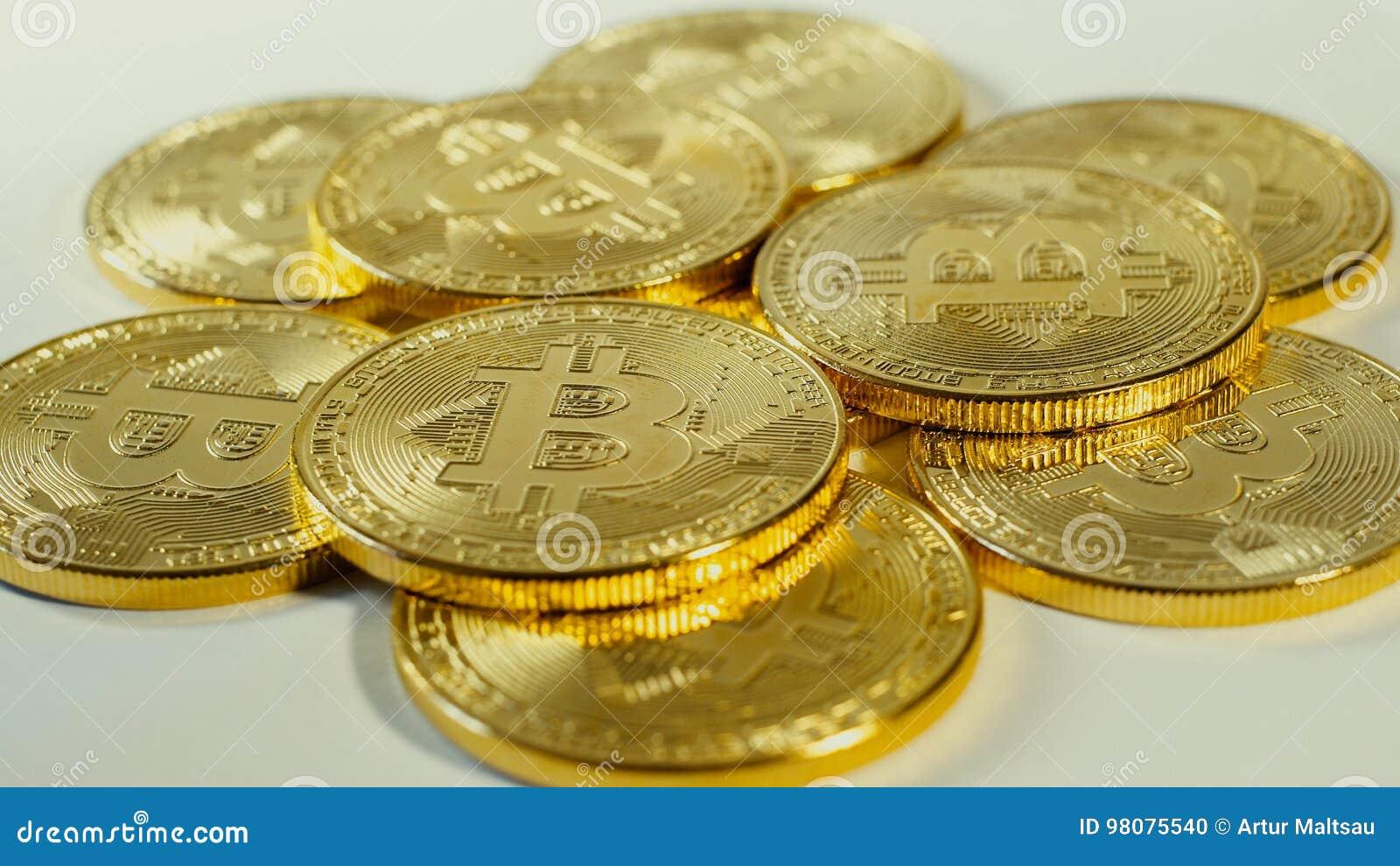 Crypto Currency Gold Bitcoins - BTC - Bit Coin  Macro Shots