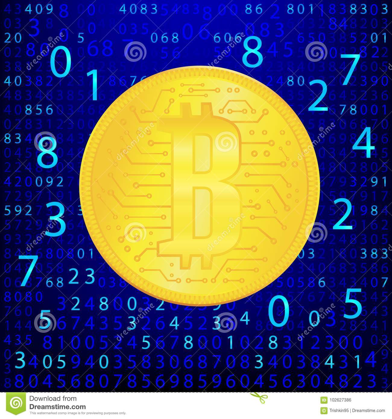 Crypto Currency Golden Coin . Abstract Virtual Money On Blue Background  .Digital Matrix Of Deducting Money . Eps 10 Illustration 102627386 -  Megapixl