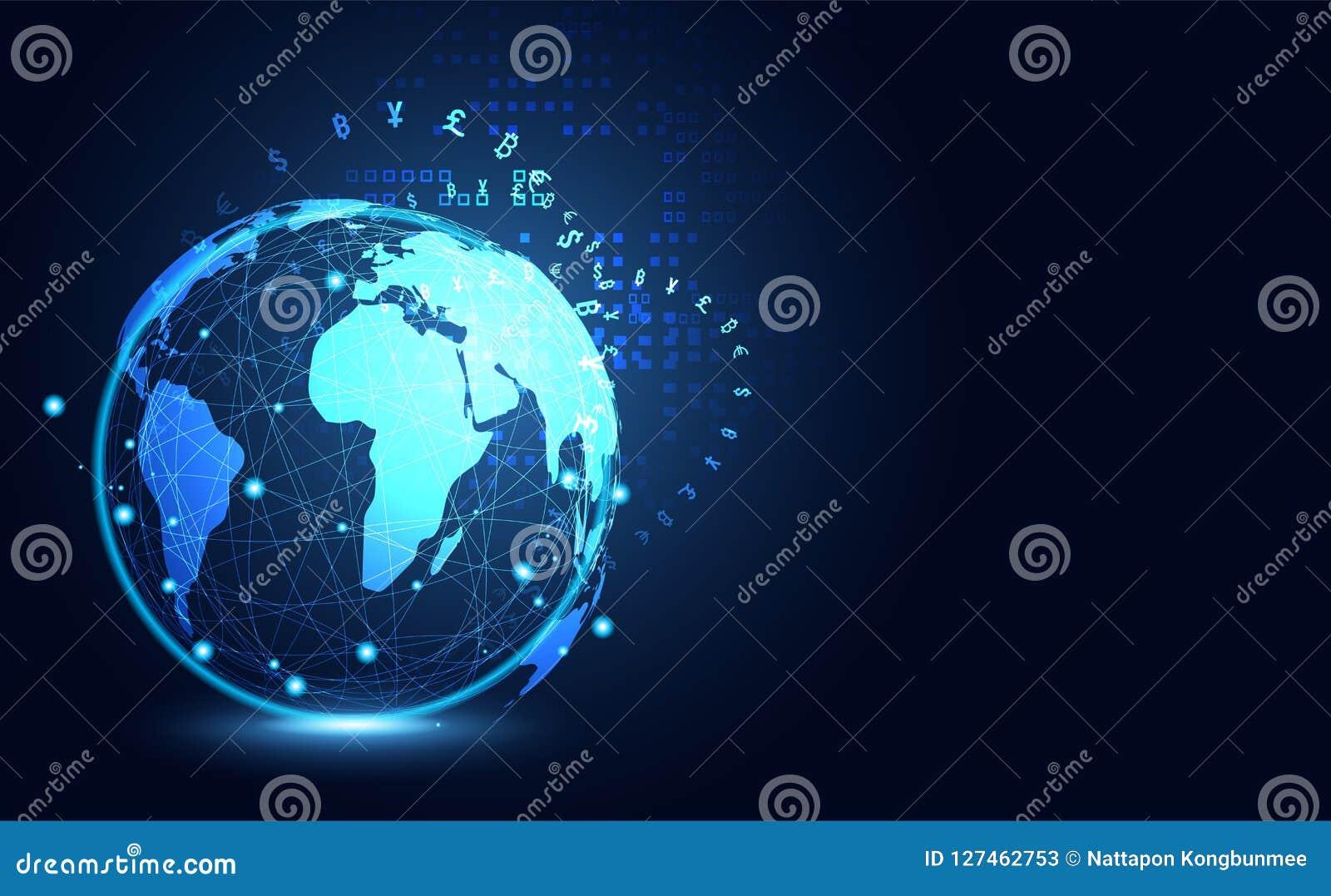 Crypto numérique global de grande technologie de transmission de données abstraite