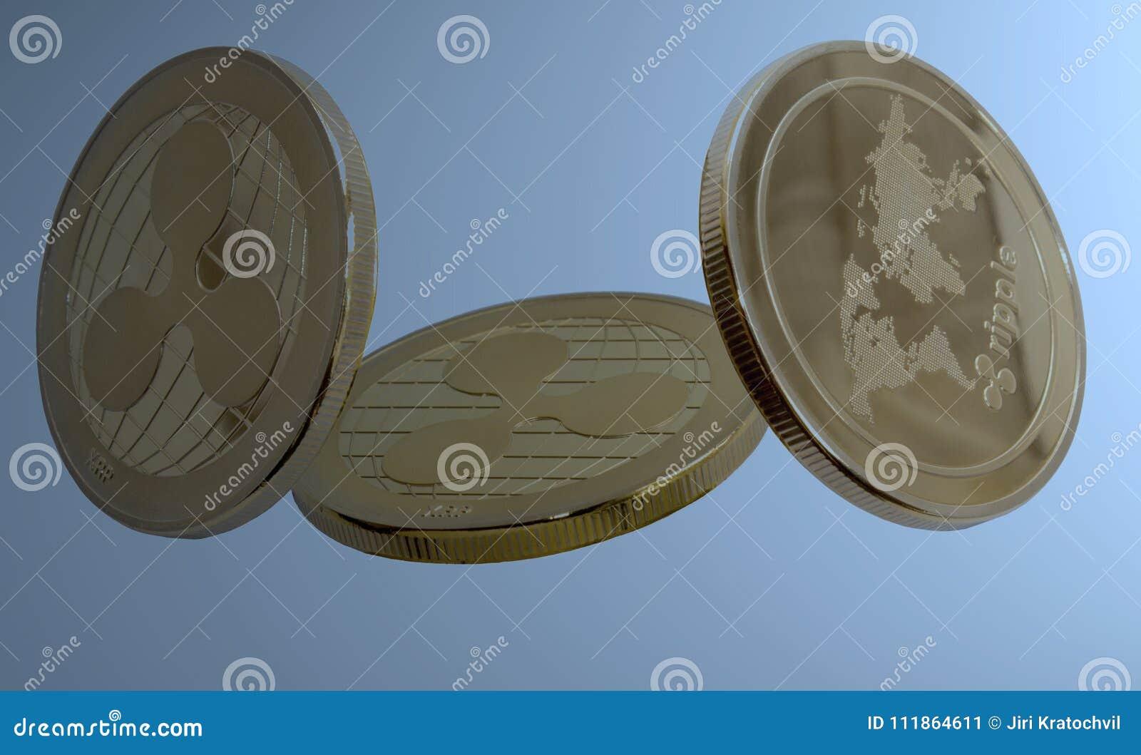 Crypto ondulation de devise sur le fond bleu