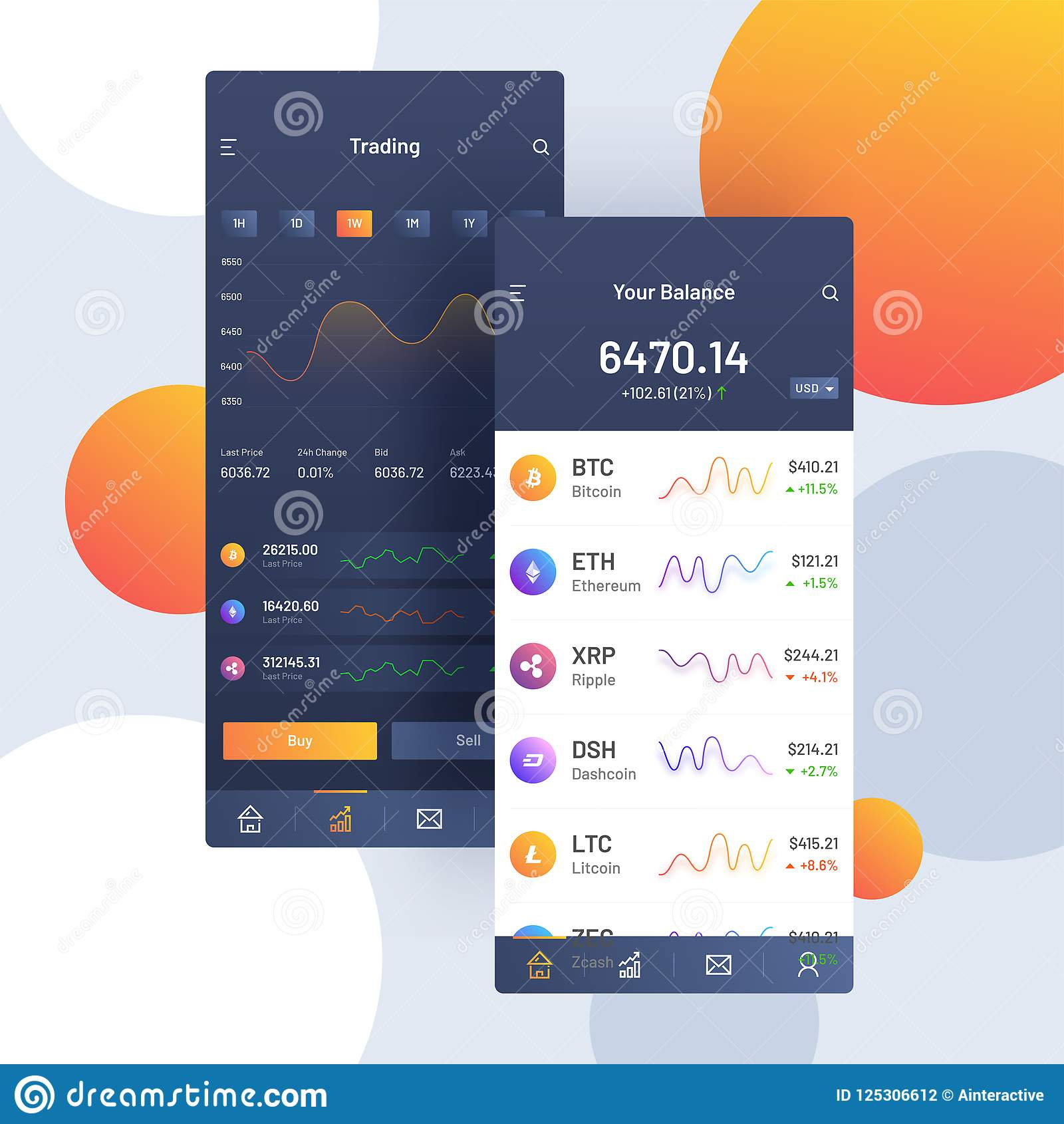 Cryptocurrencies που κάνουν εμπόριο, και ανταλλαγή UI ή έννοια UX για Mobi