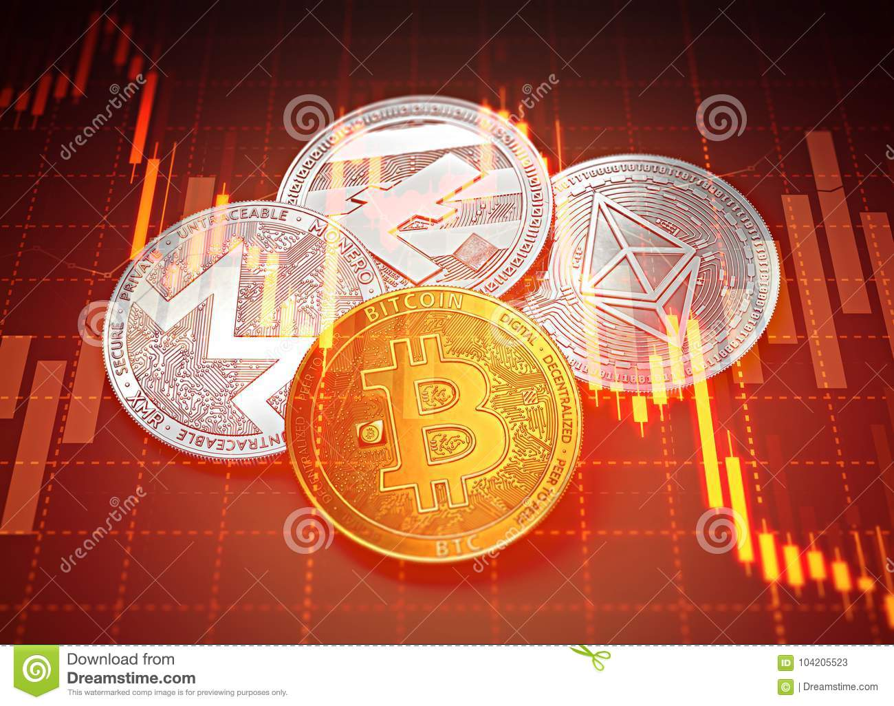 Cryptocurrencies success graphs with charts declining. Cryptocurrencies decline concept.