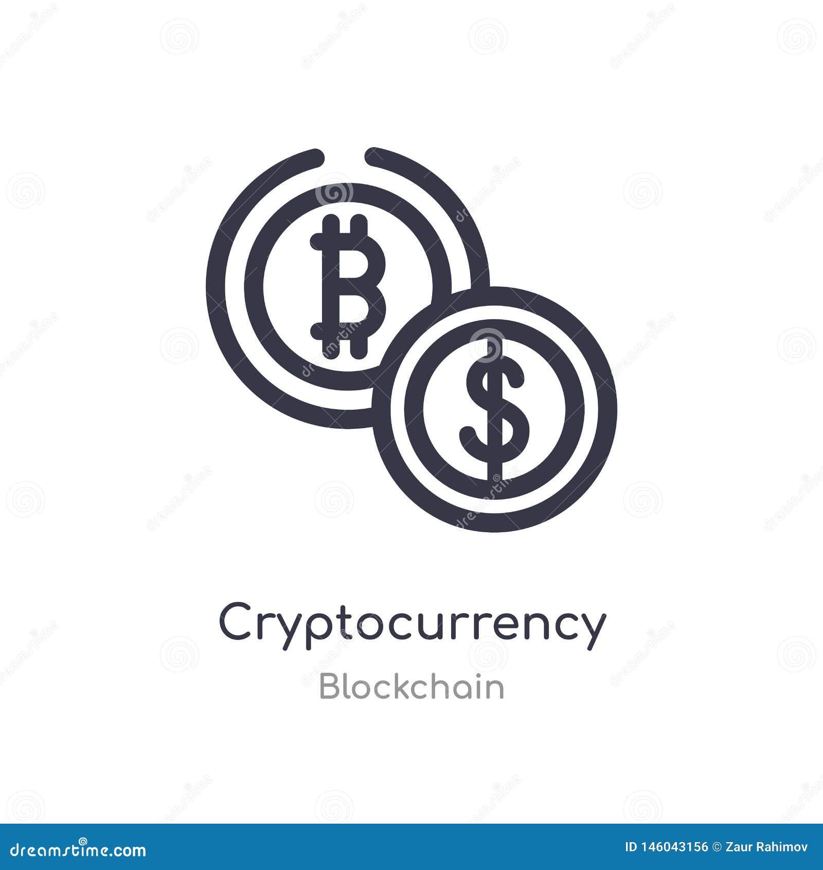 Cryptocurrency概述象 被隔绝的线从blockchain汇集的传染媒介例证 编辑可能的稀薄的冲程cryptocurrency