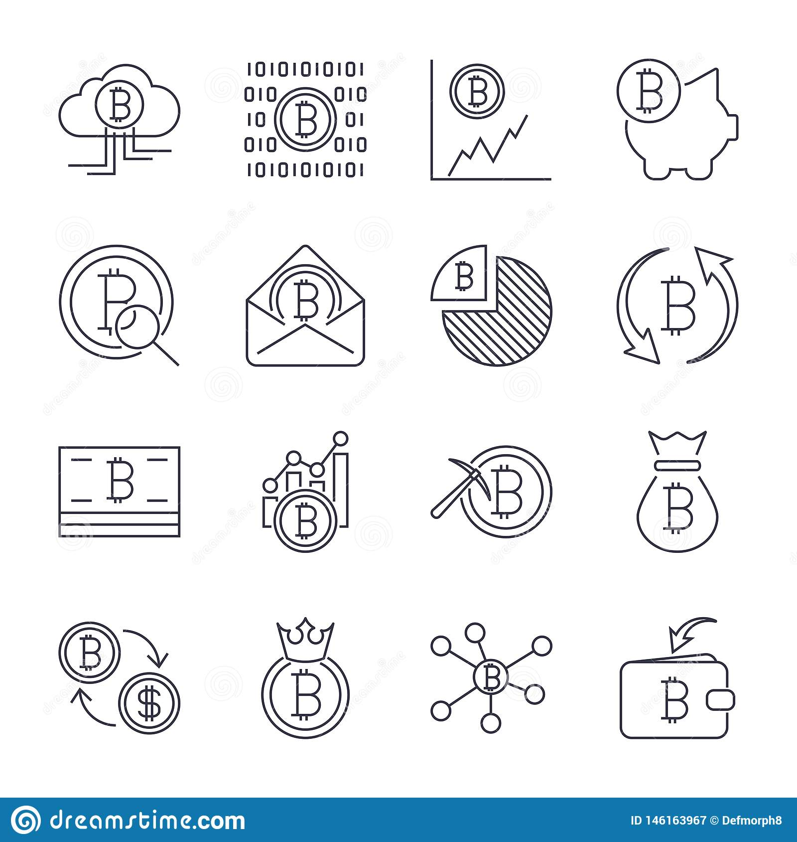 Cryptocurrency线象集合 稀薄的概述Bitcoin财务标志的传染媒介汇集 r