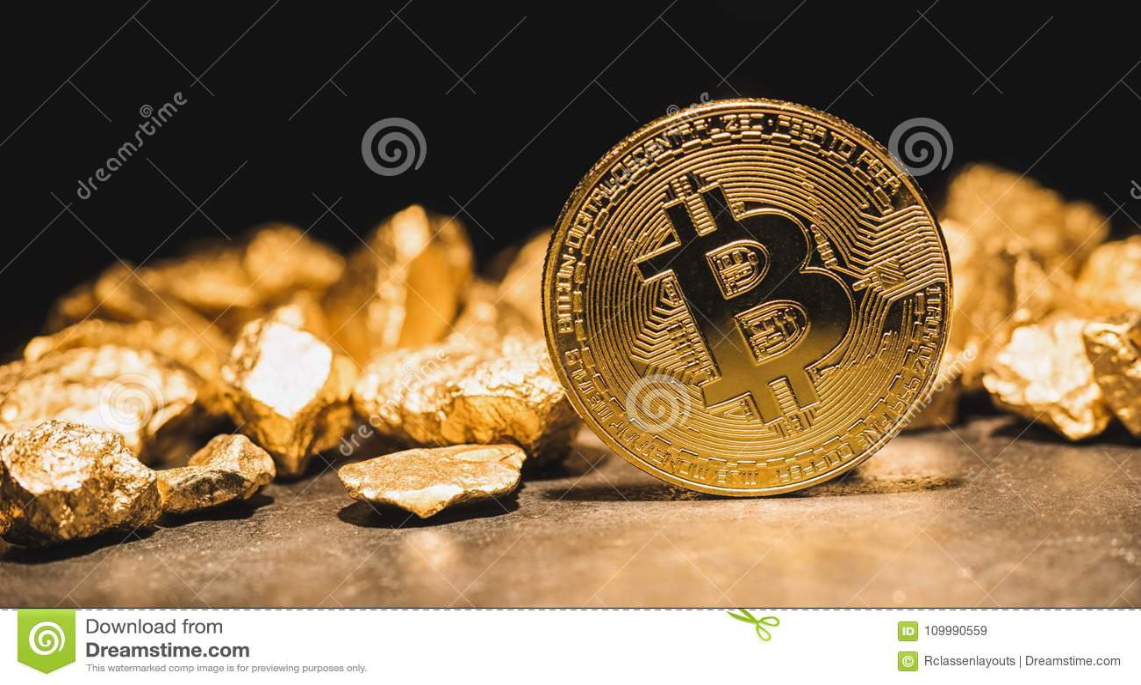 Cryptocurrency Bitcoin e monticello delle pepite di oro - affare concentrato