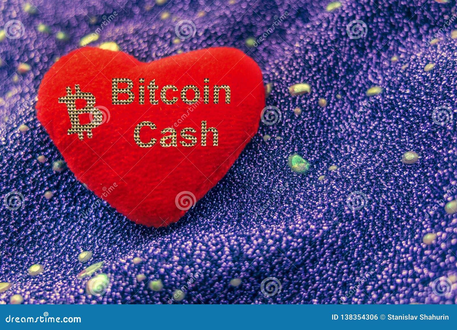 Cryptocurrency Bitcoin gotówki symbol jest czerwonym pluszowym sercem z neonowym tłem BCH