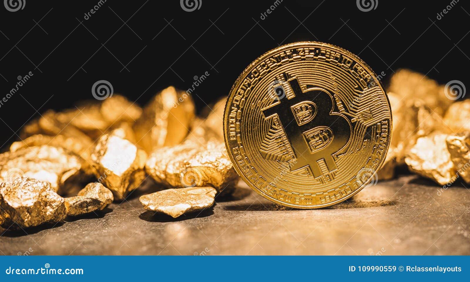 Cryptocurrency Bitcoin i kopiec złociste bryłki - biznes conc