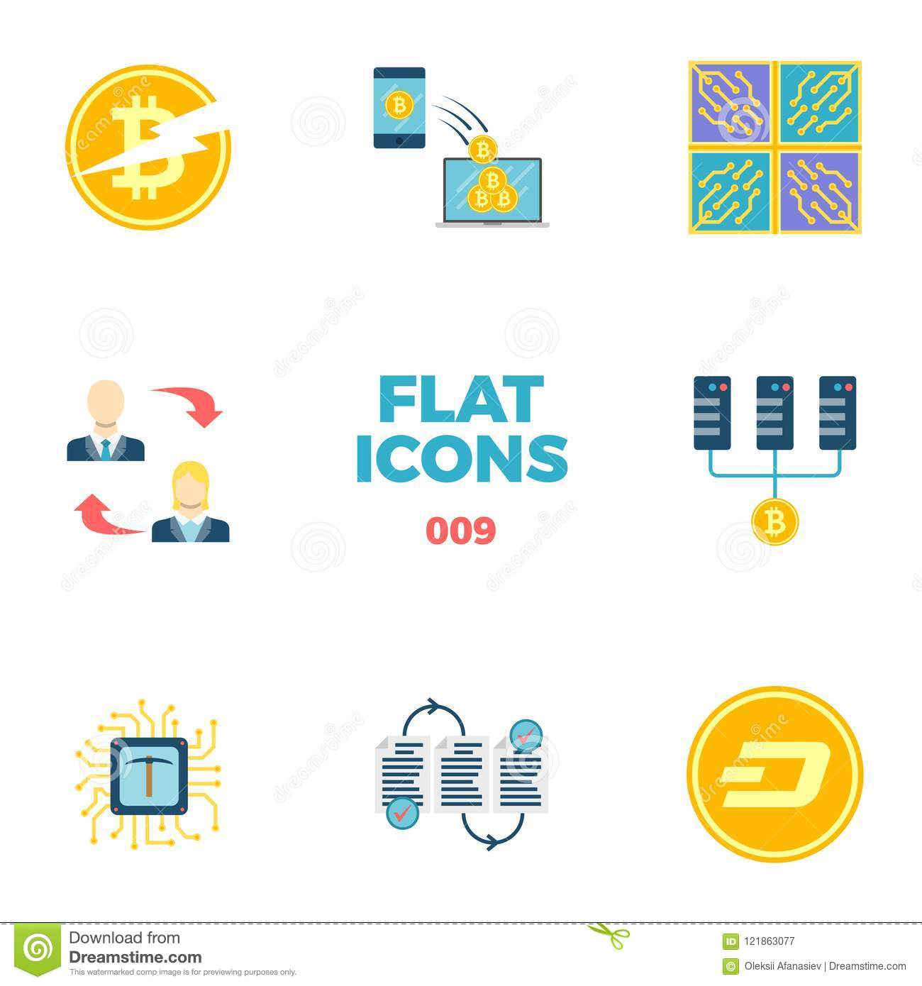 Cryptocurrency And Blockchain Flat Icons Stock Vector