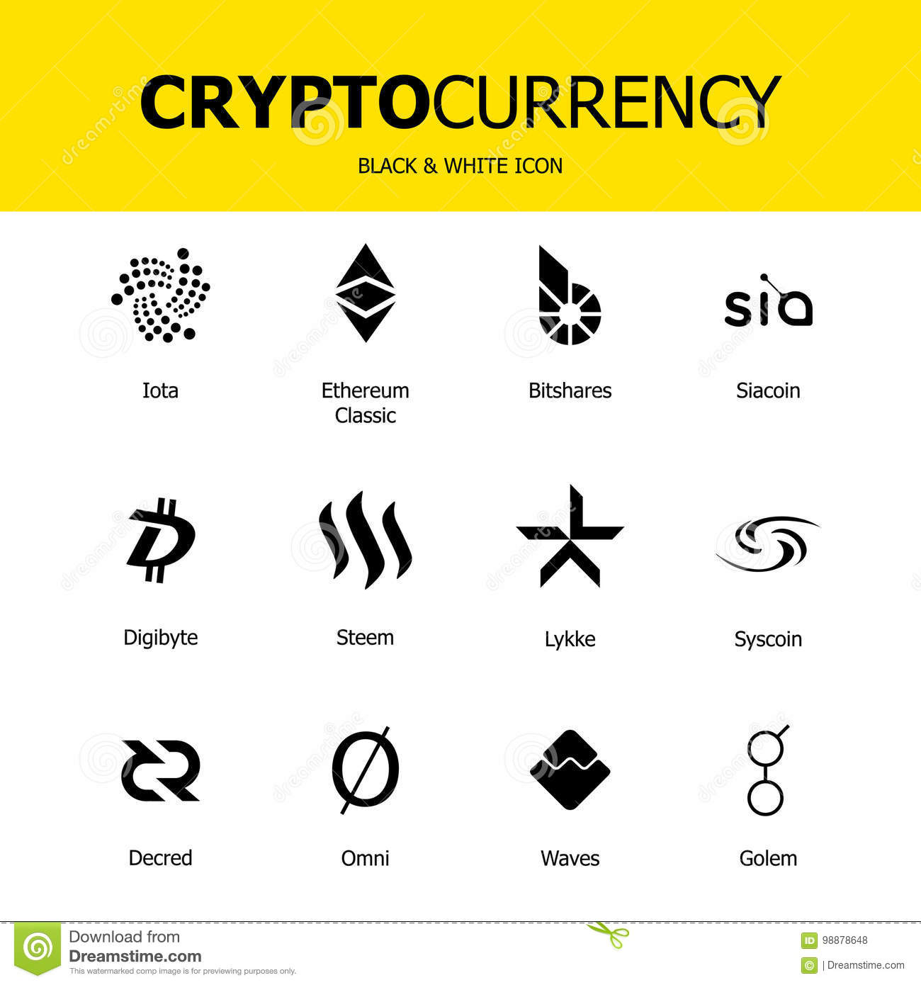 Cryptocurrency Blockchain Icons Set Of Virtual Currency Vector Trading Signs Ethereum Classic