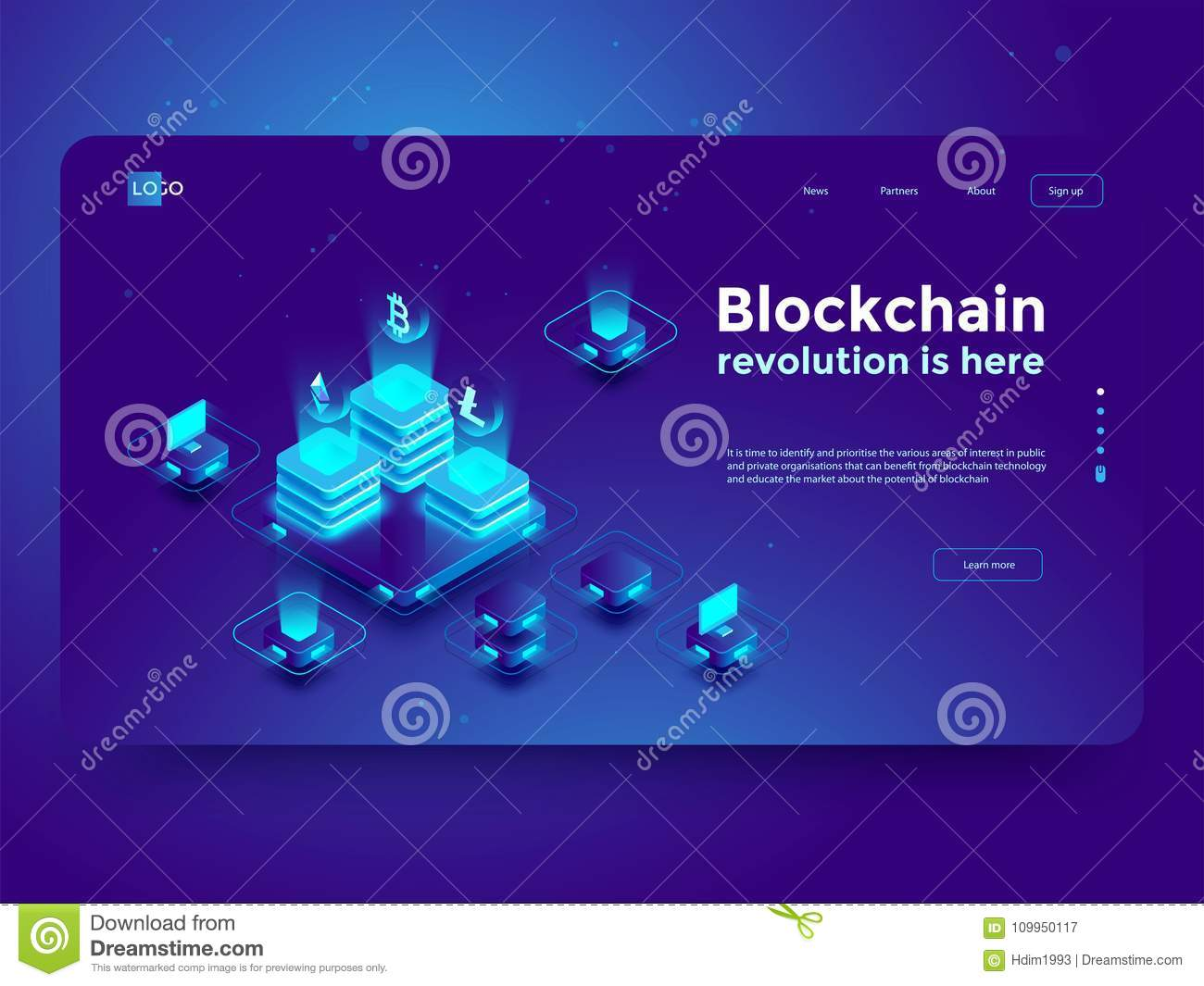 Cryptocurrency and blockchain isometric composition. Isometric vector illustration.