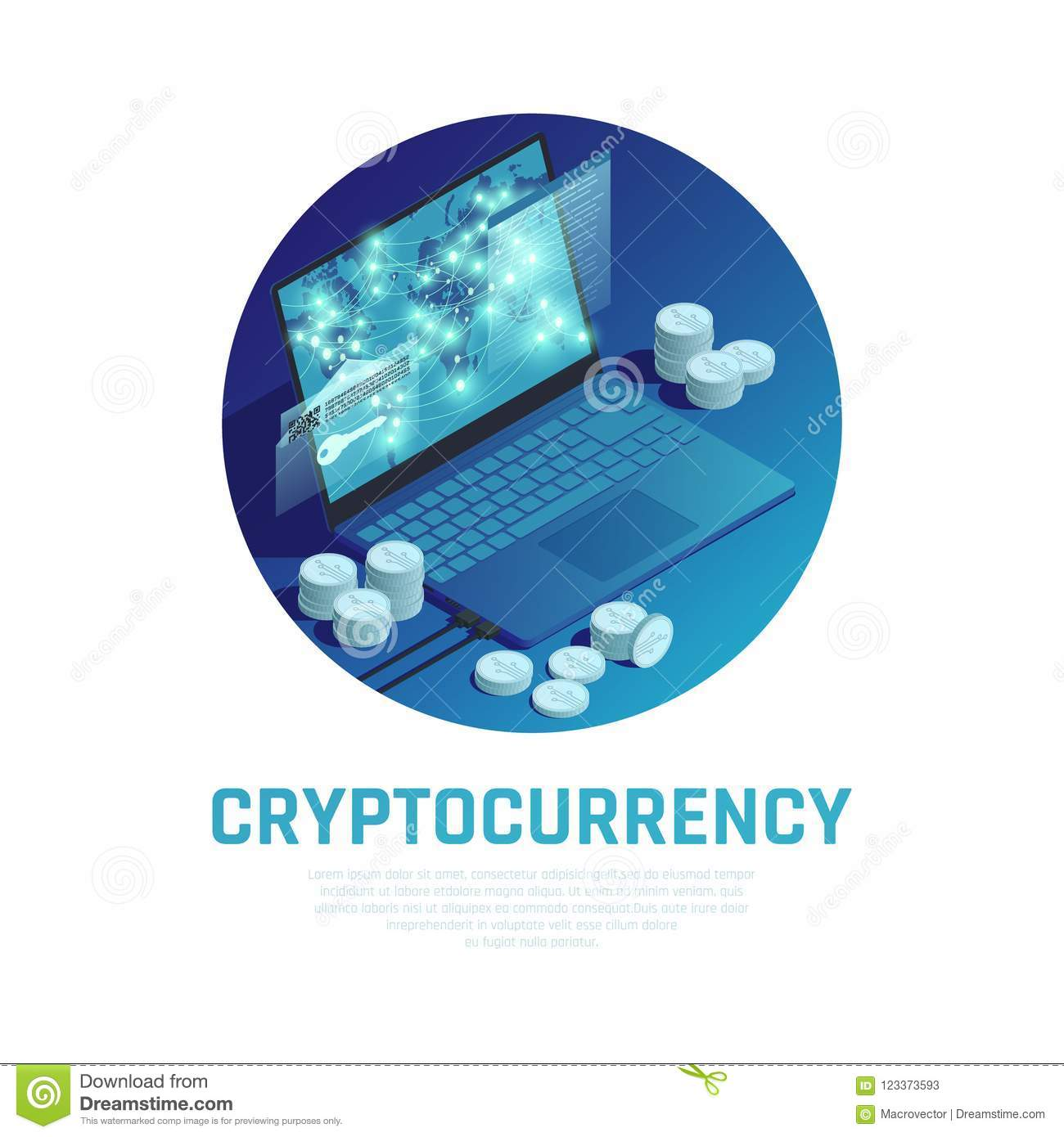 Cryptocurrency Isometric Composition