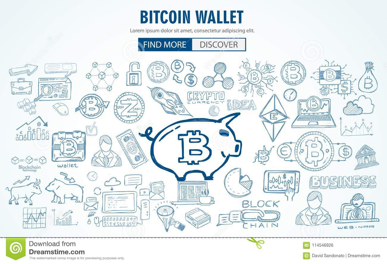 Cryptocurrency Concept Hand Drawn Doodle Designs Like: Blockchains