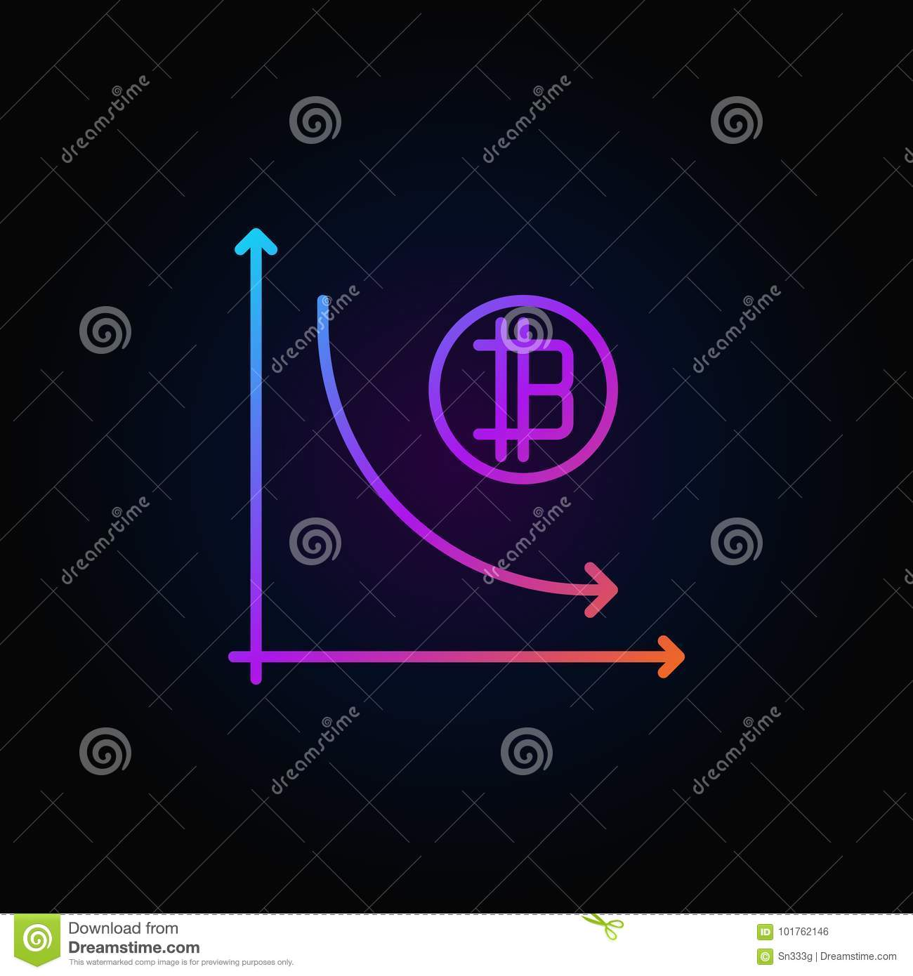 Cryptocurrency decline graph colorful icon