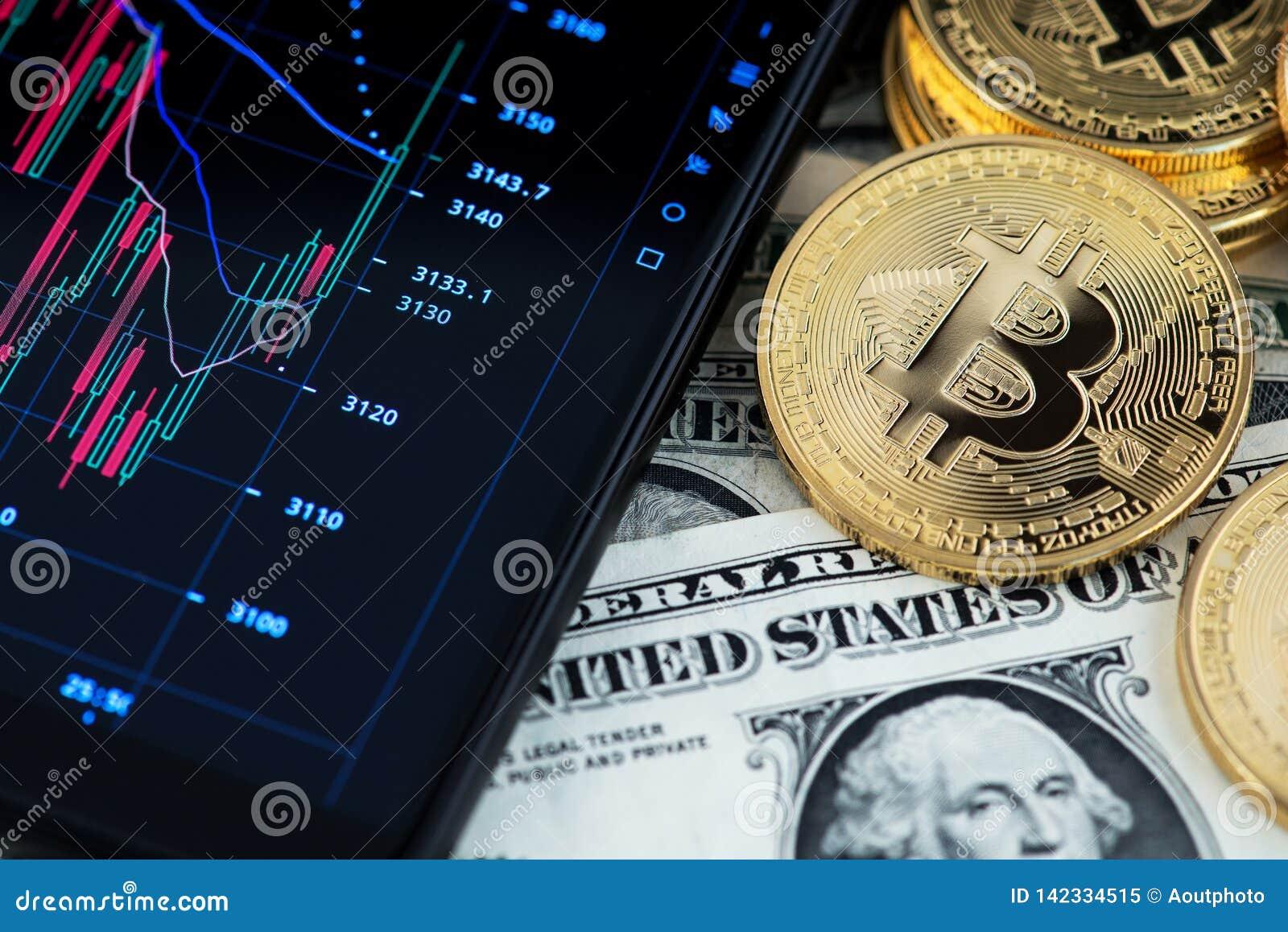 Cryptocurrency di Bitcoin e le banconote di un dollaro americano accanto al grafico del candeliere di rappresentazione del telefo
