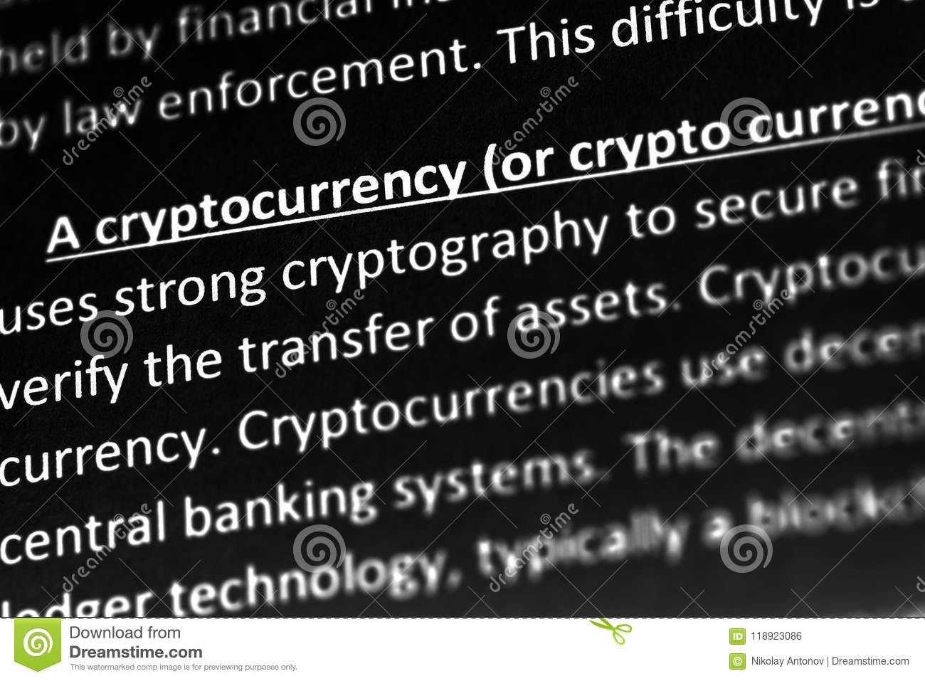 Cryptocurrency explanation or description in dictionary or article. Close up with focus on cryptocurrency.