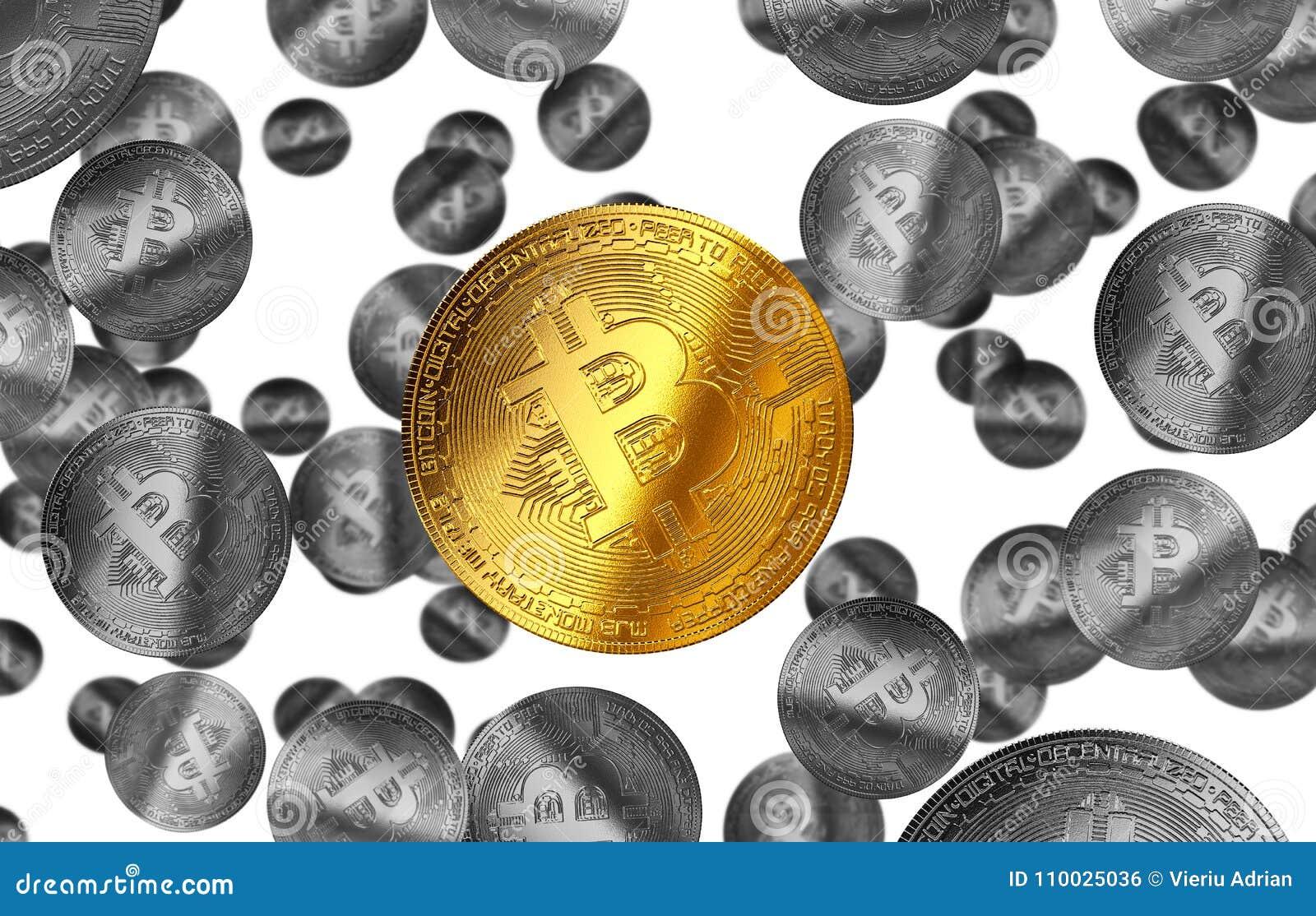 Cryptocurrency gele illustratie van het Bitcoin gouden muntstuk