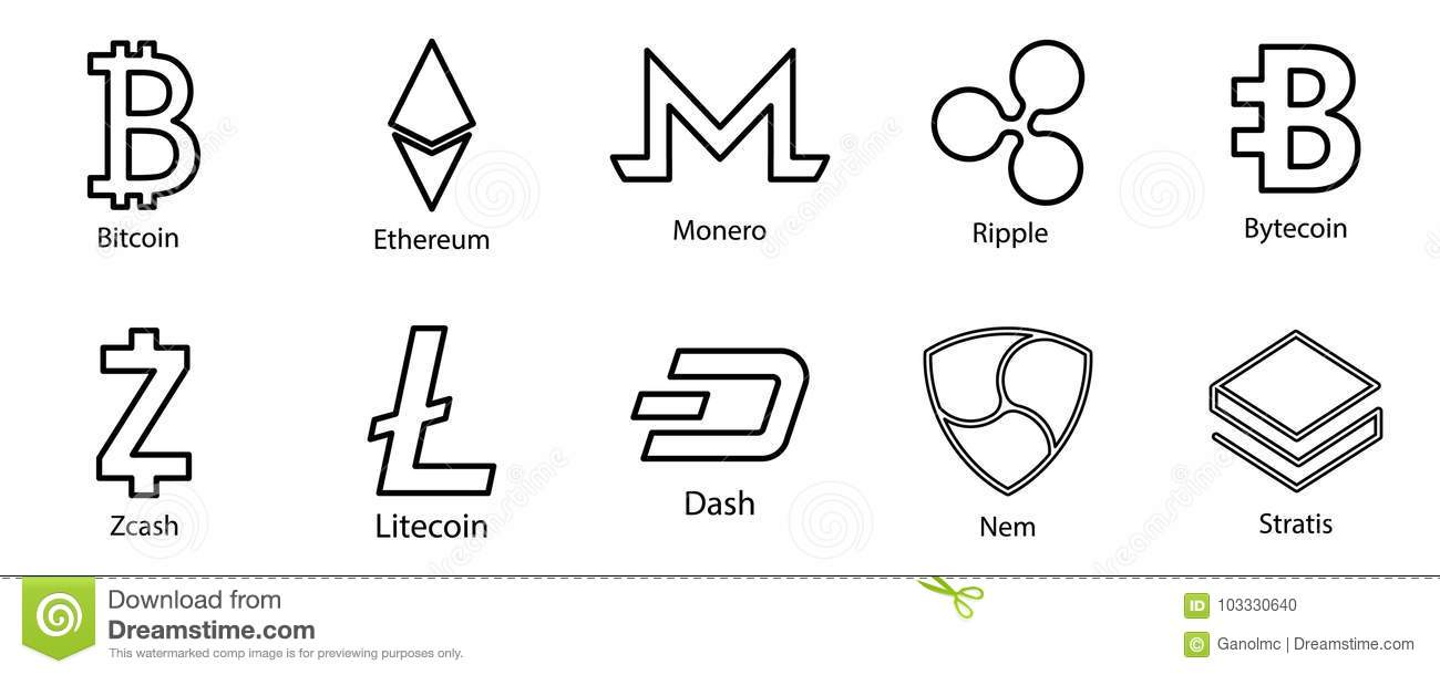 Cryptocurrency Icons Set For Internet Money Blockchain Based Secure
