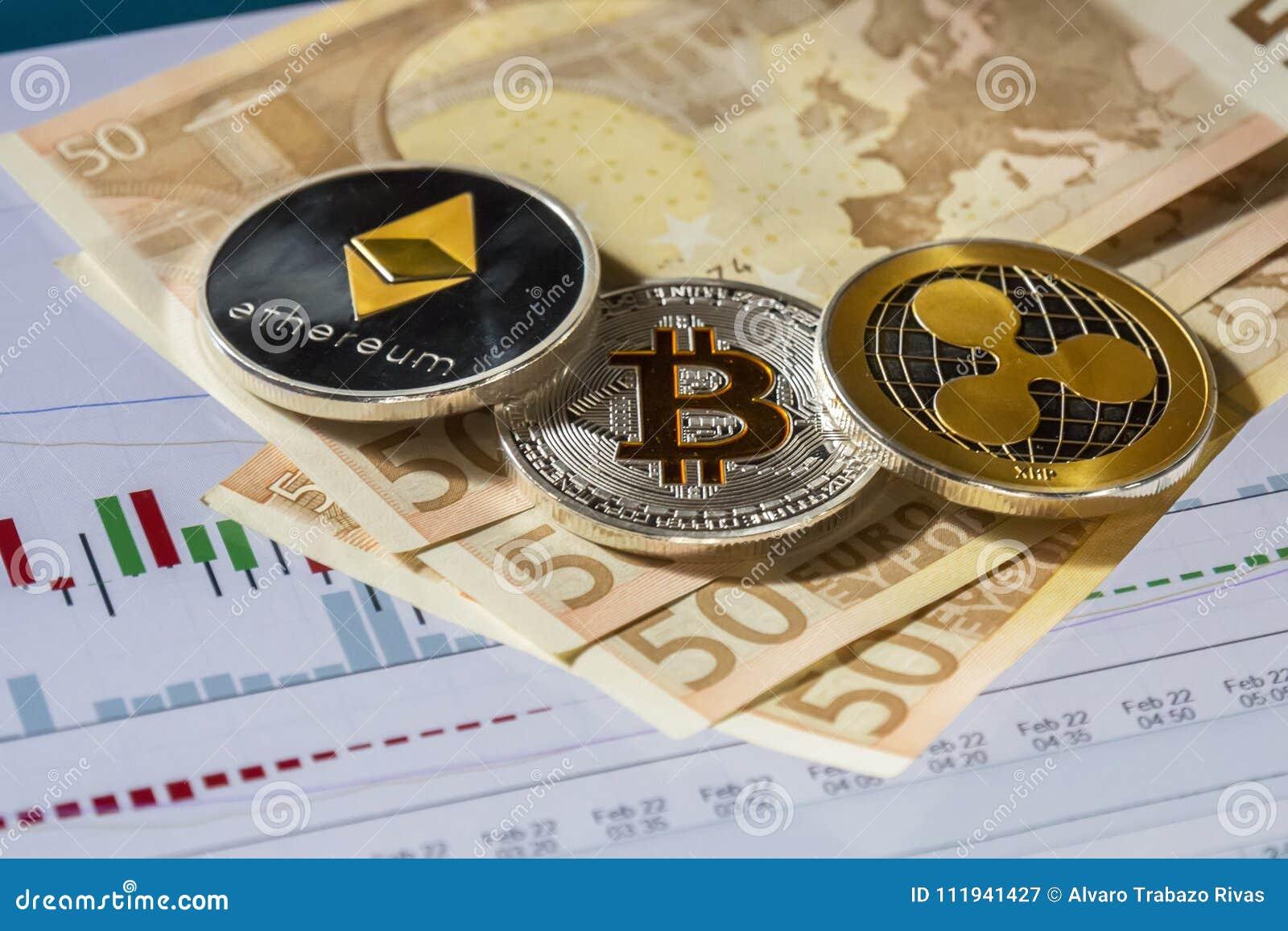 Cryptocurrency inventa sobre o gráfico de troca da compra e da venda; Bitcoin,