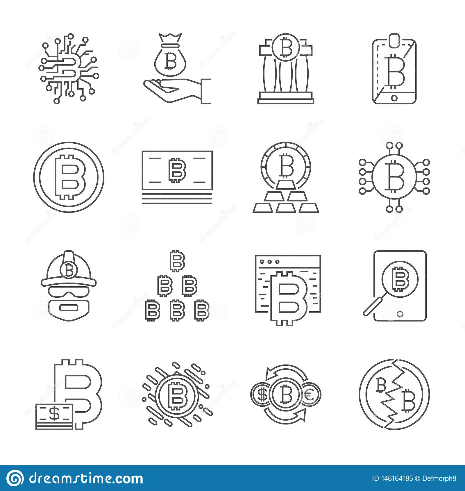 Cryptocurrency Line Icons Set. Vector Collection of Thin Outline Bitcoin Finance Symbols. Editable Stroke