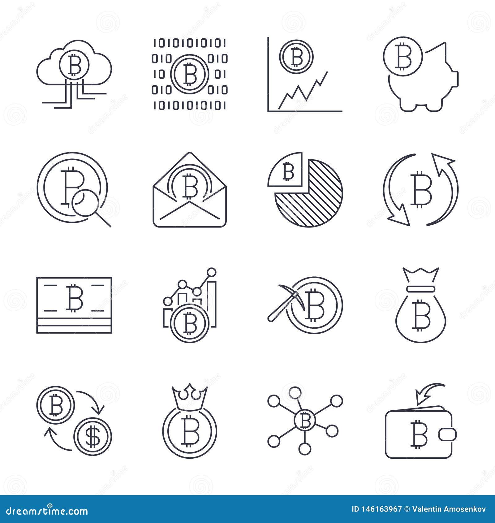 Cryptocurrency-Linie Ikonen eingestellt Vektor-Sammlung d?nne Entwurf Bitcoin-Finanzsymbole Editable Anschlag