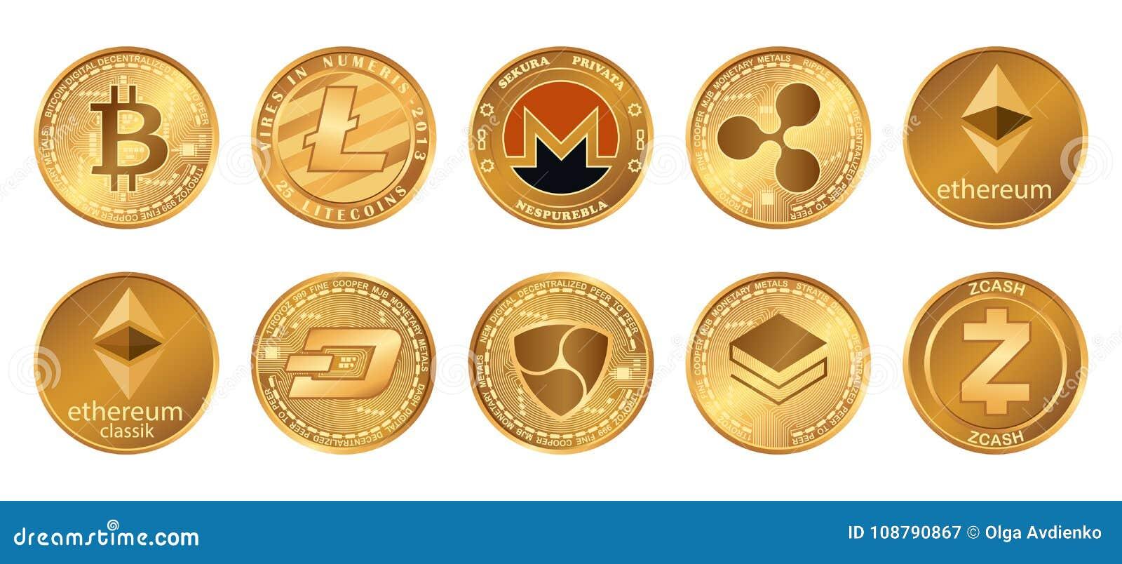 Cryptocurrency-Logo stellte - bitcoin, litecoin, ethereum, ethereum Klassiker, monero, Kräuselung, zcash Schlag stratis ohne Gege